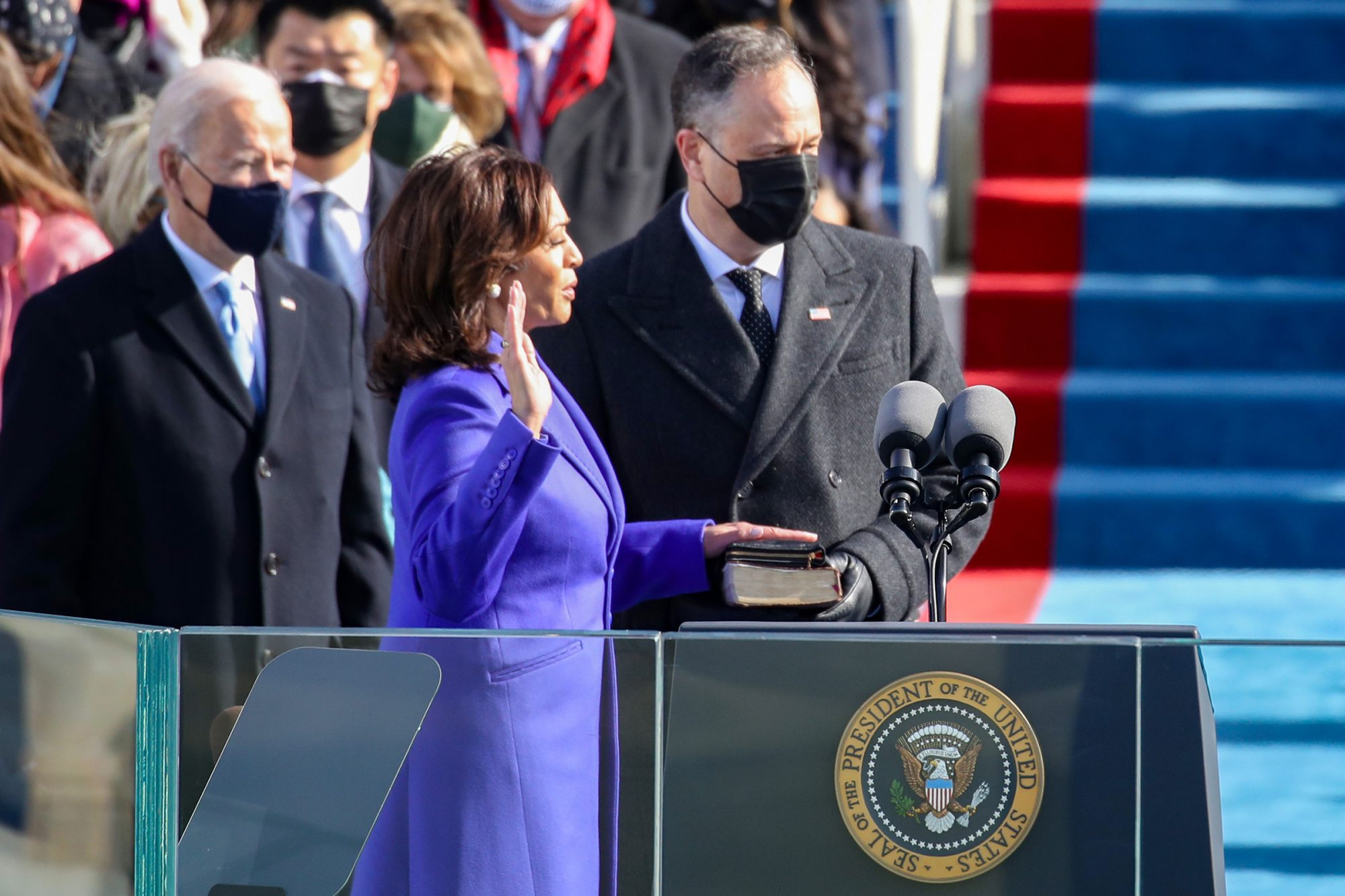 Kamala Harris is sworn in as Vice President of the United States as her husband Doug Emhoff looks on during the inauguration of U.S. President-elect Joe Biden on the West Front of the U.S. Capitol on January 20, 2021 in Washington