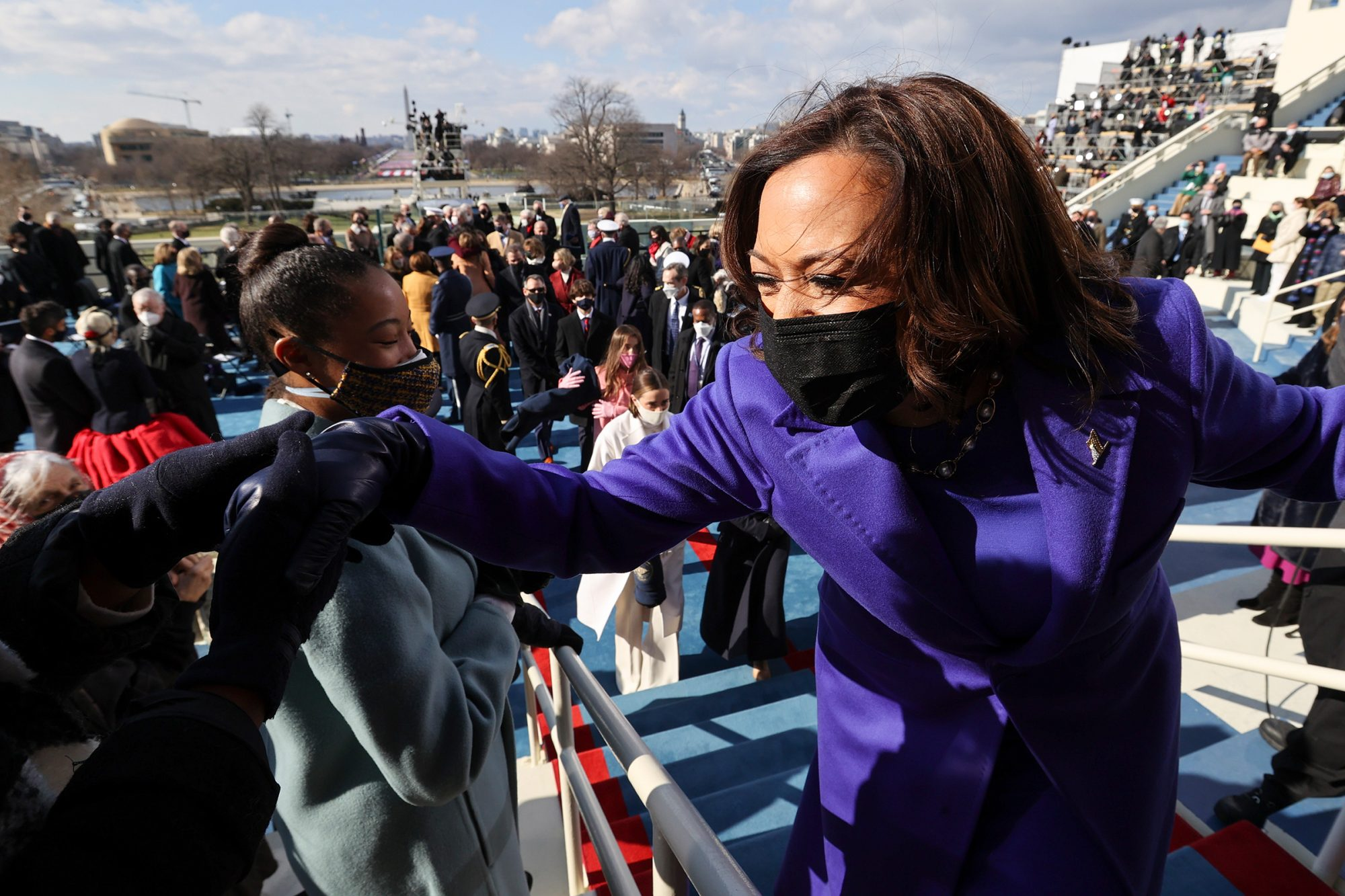 U.S. Vice President Kamala Harris leaves after she was inaugurated along with President Joe Biden on the West Front of the U.S. Capitol on January 20, 2021 in Washington, DC