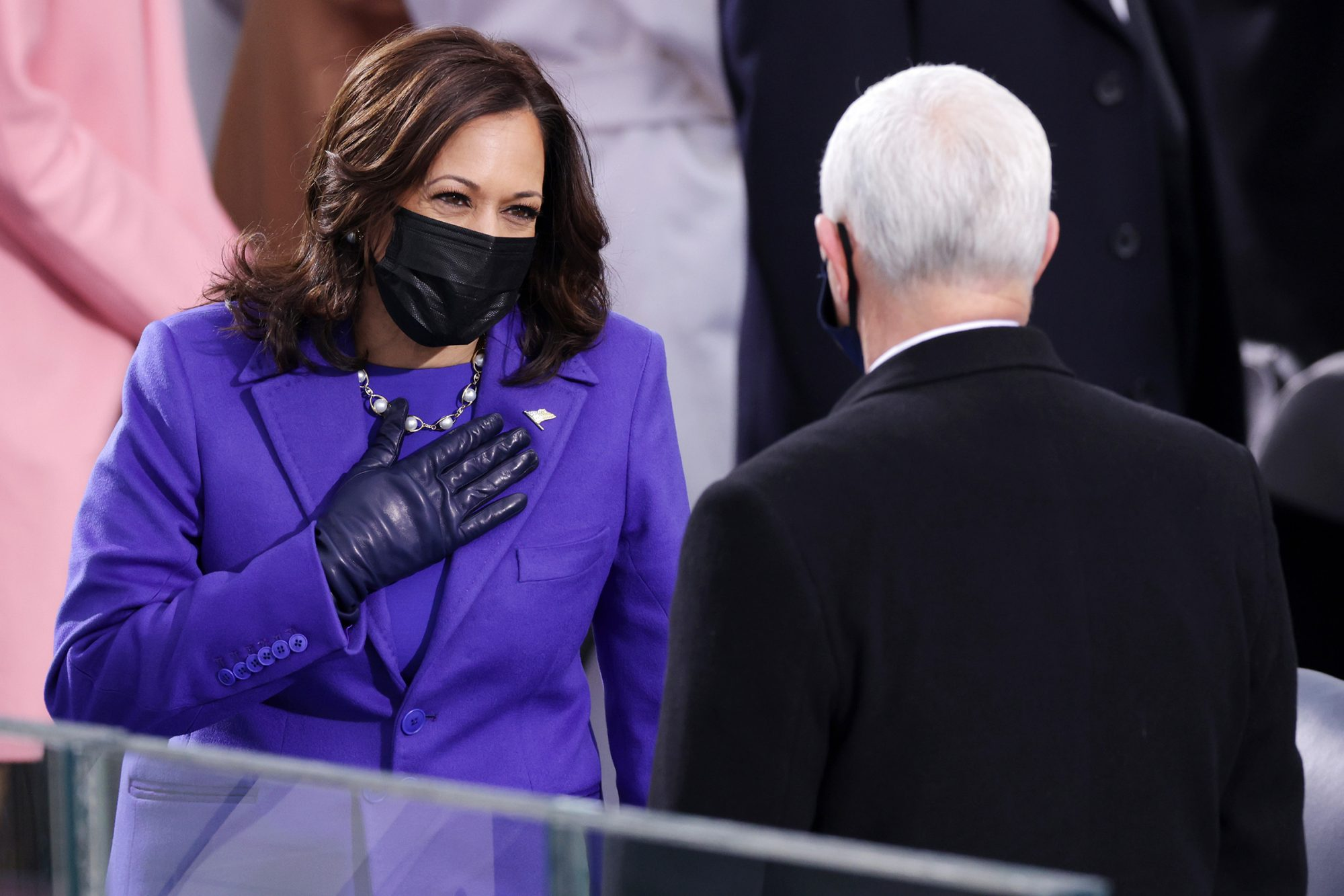 U.S. Vice President-elect Kamala Harris greets Vice President Mike Pence as she arrives to the inauguration of U.S. President-elect Joe Biden on the West Front of the U.S. Capitol on January 20, 2021 in Washington, DC