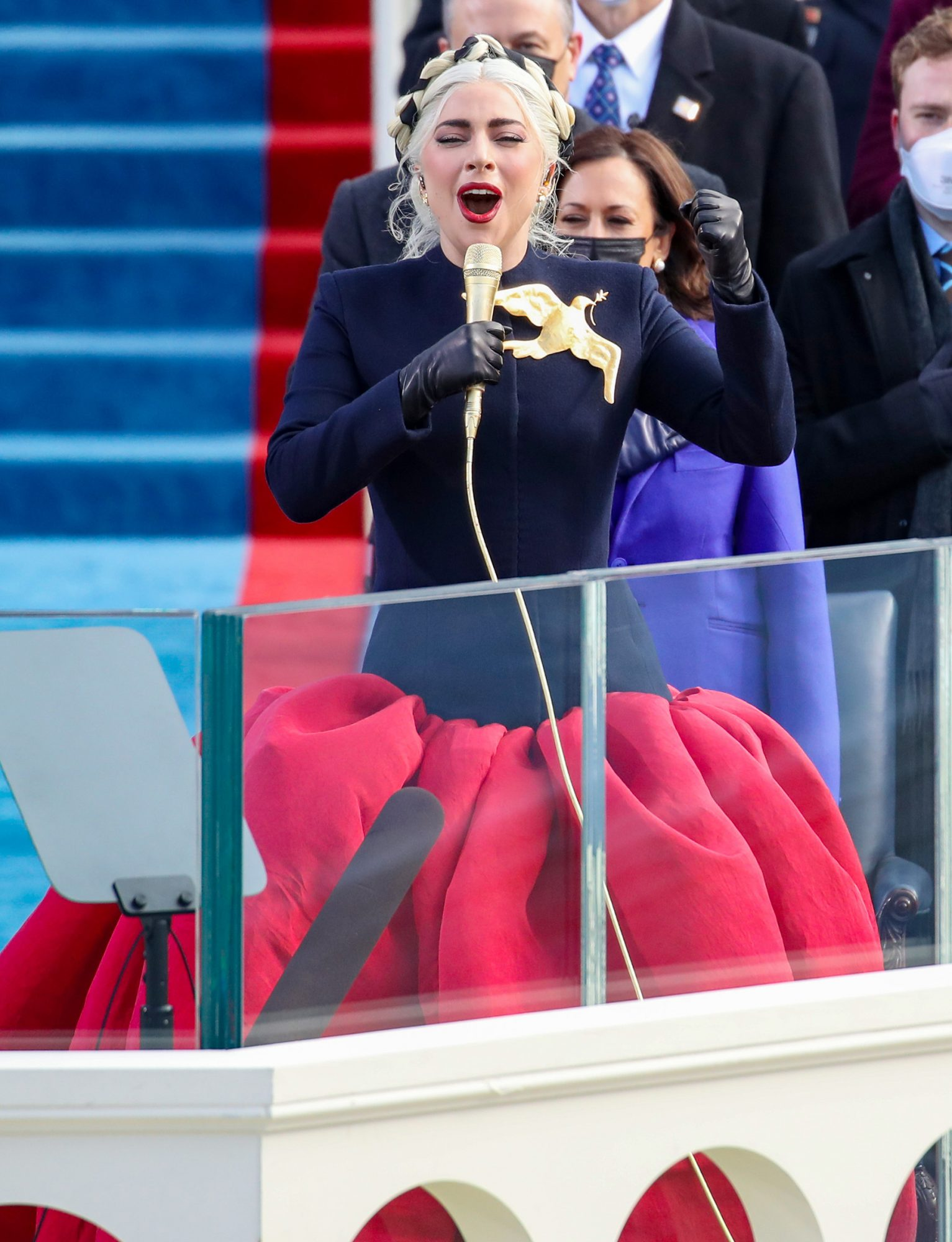 Lady Gaga sings the National Anthem at the inauguration of U.S. President-elect Joe Biden on the West Front of the U.S. Capitol on January 20, 2021 in Washington, DC