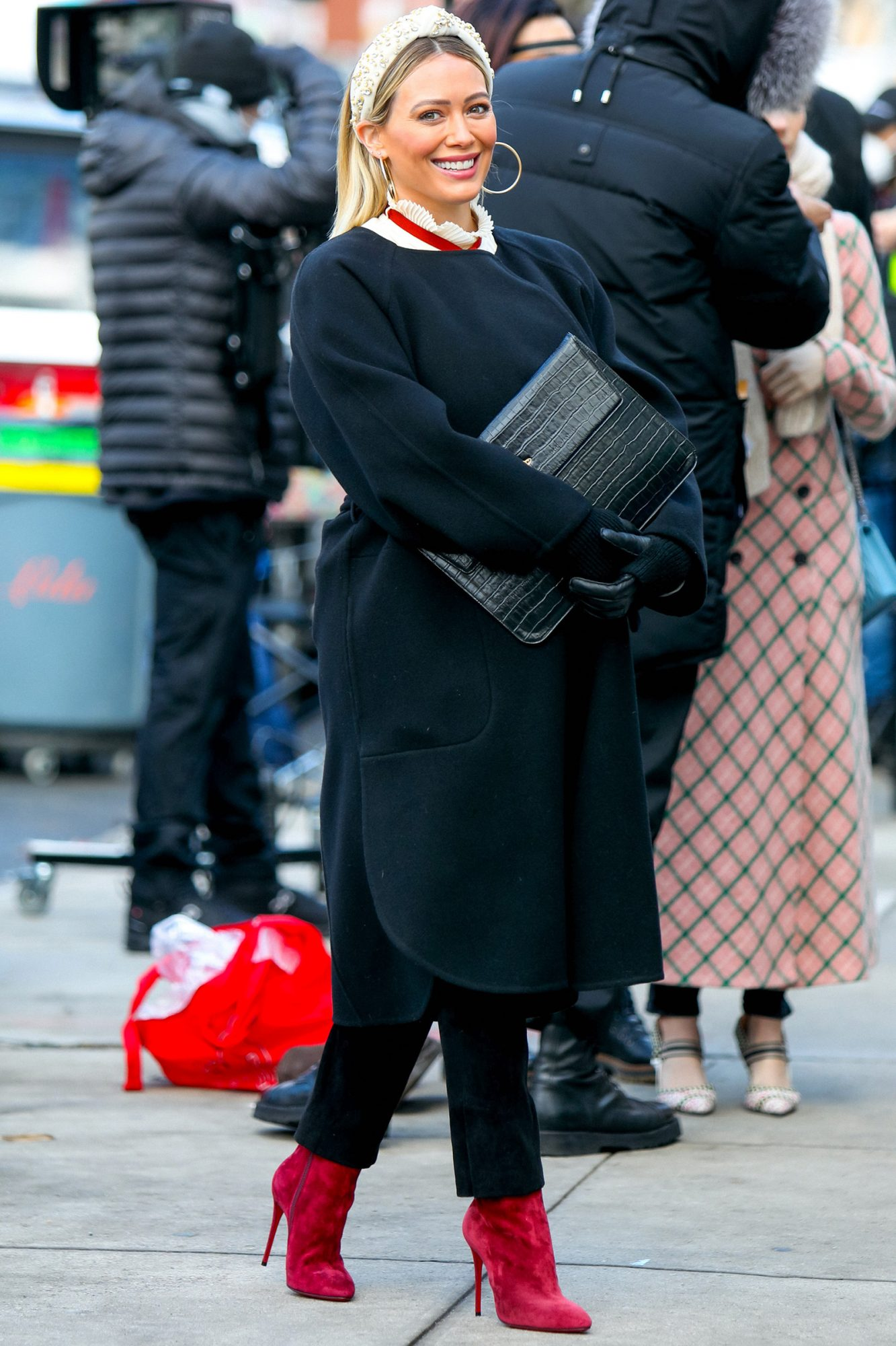 Hilary Duff is seen at the film set of the 'Younger' TV Series in Downtown, Manhattan on January 20, 2021 in New York City