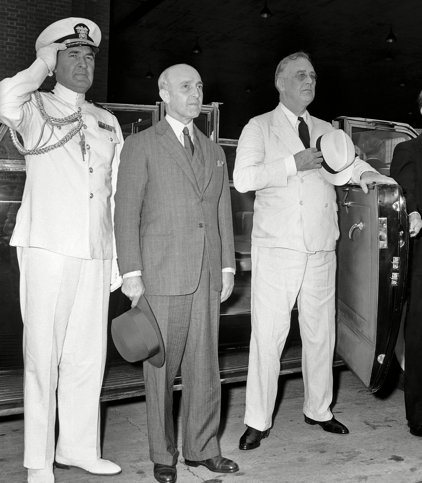 Franklin D. Roosevelt, Manuel Prado, John McCrea Their heads bared, President Manuel Prado, center, of Peru and U.S.