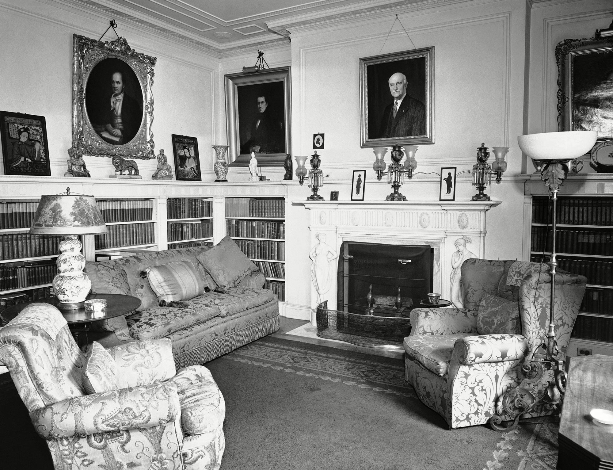 The corner of the spacious library adjoining the master bedroom at Blair House is shown, . It is used as a sitting room by royal visitors Blair House 1942, Washington, USA
