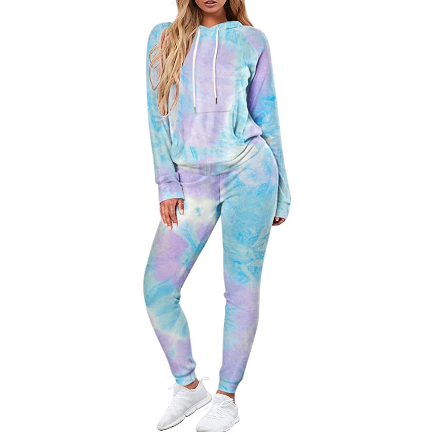 Selowin Women Casual Sweatsuit Pullover Hoodie Sweatpants