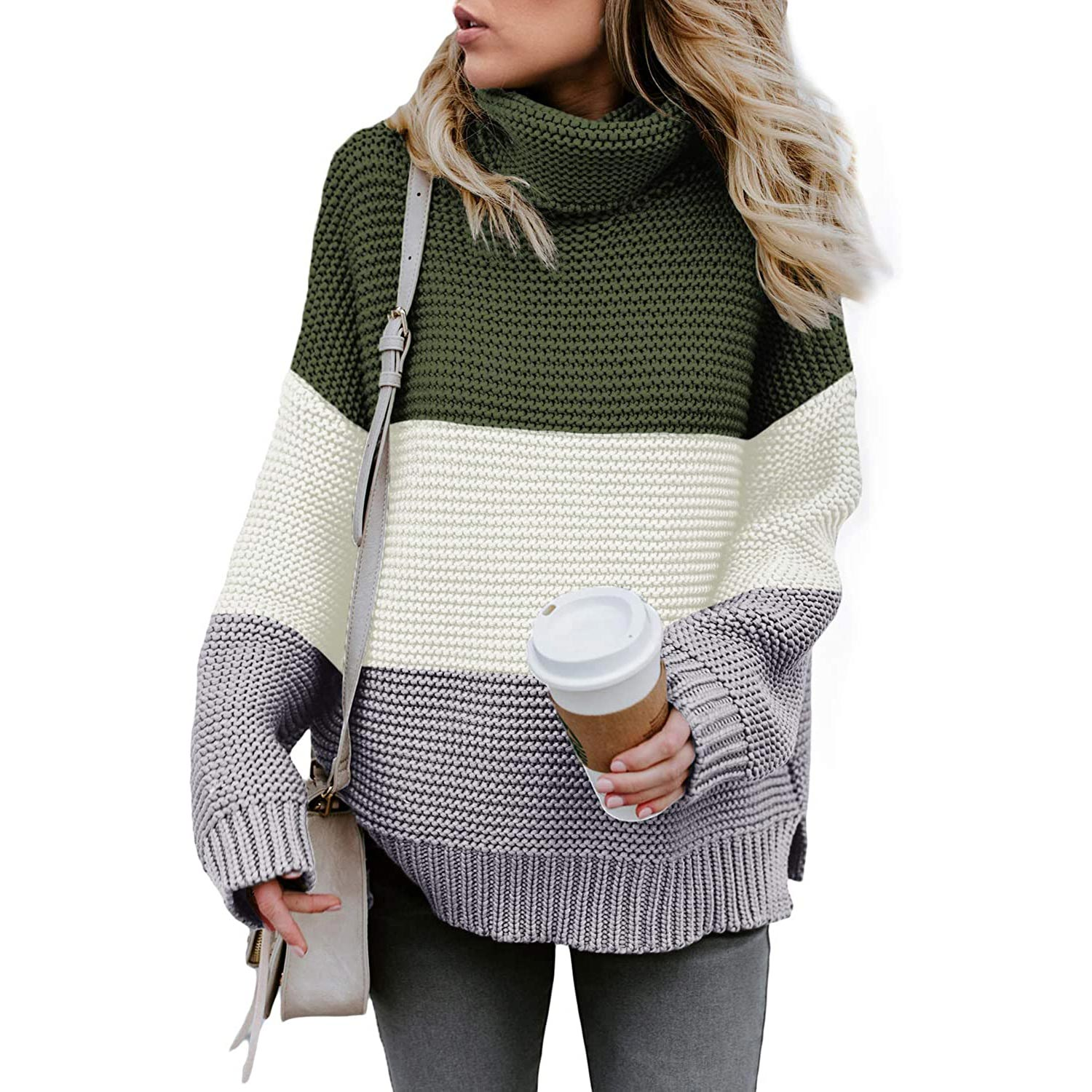 Chase Secret Womens Turtle Cowl Neck Solid Color Soft Comfy Cable Knit Pullover Sweaters