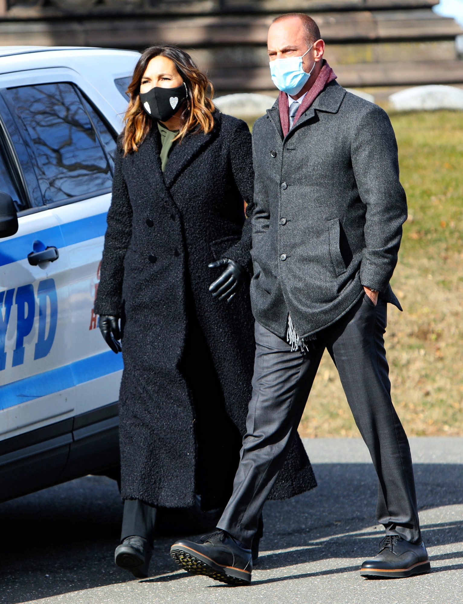"Mariska Hargitay and Christopher Meloni are seen on the set of ""Law and Order: SVU"" on January 25, 2021 in New York City"