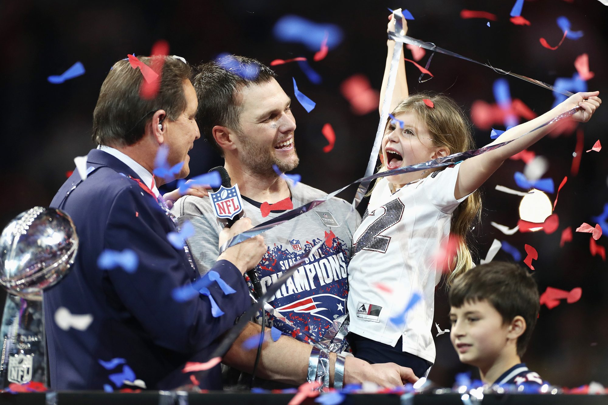 Vivian Lake Brady, daughter of Tom Brady #12, celebrates the Patriots' 13-3 win over the Los Angeles Rams during Super Bowl LIII at Mercedes-Benz Stadium on February 3, 2019 in Atlanta, Georgia