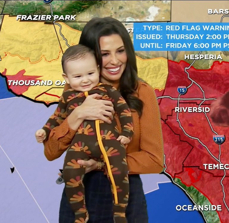 ABC7 Meteorologist Leslie Lopez and baby