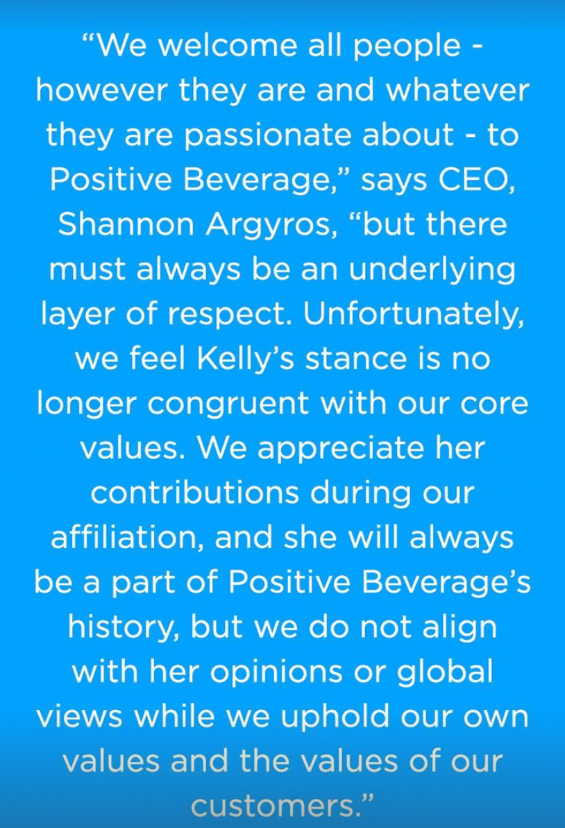 Kelly Dodd and Positive Beverage