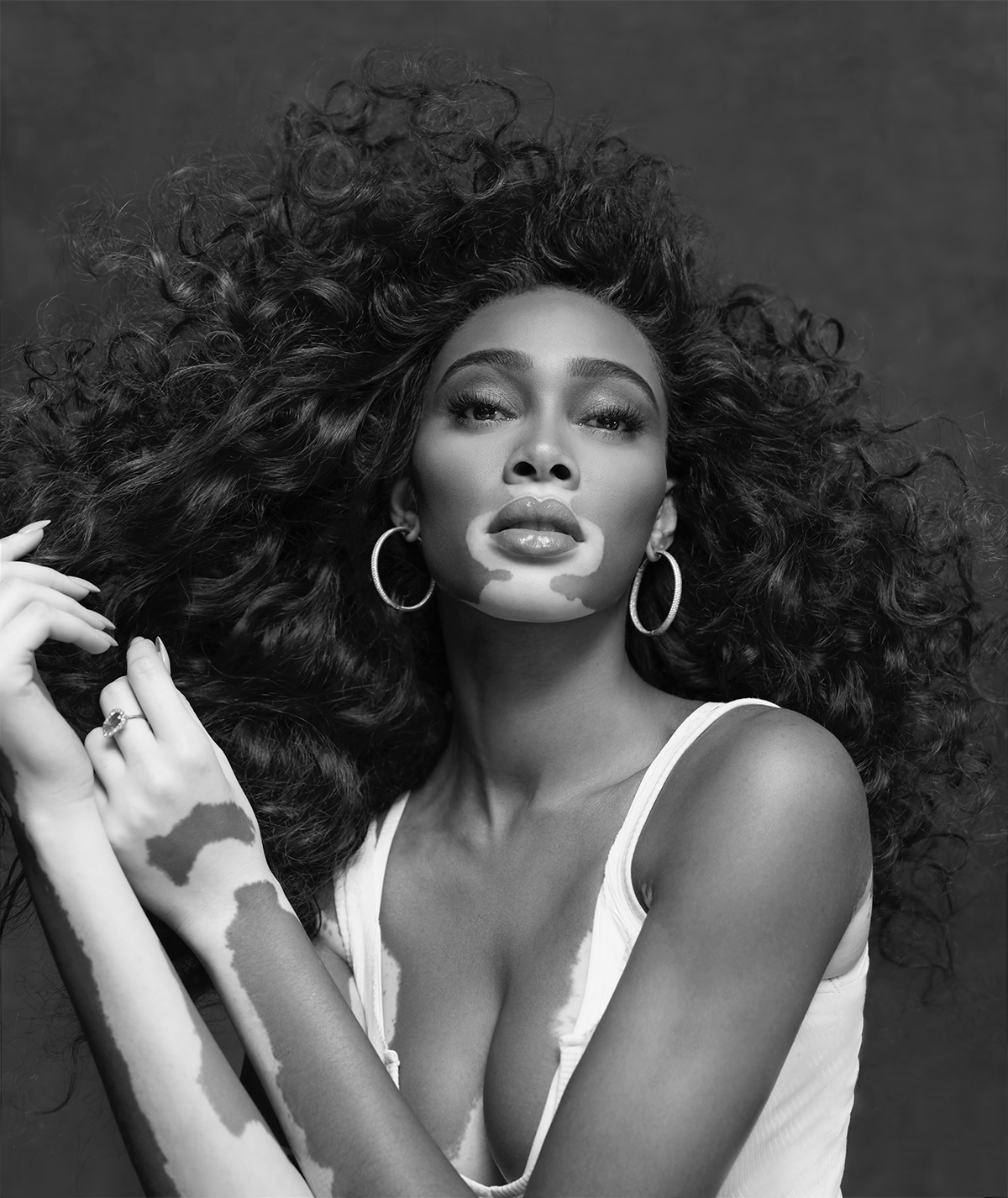 Winnie Harlow; Paul Mitchell campiagn images; credit: Micaiah Carter