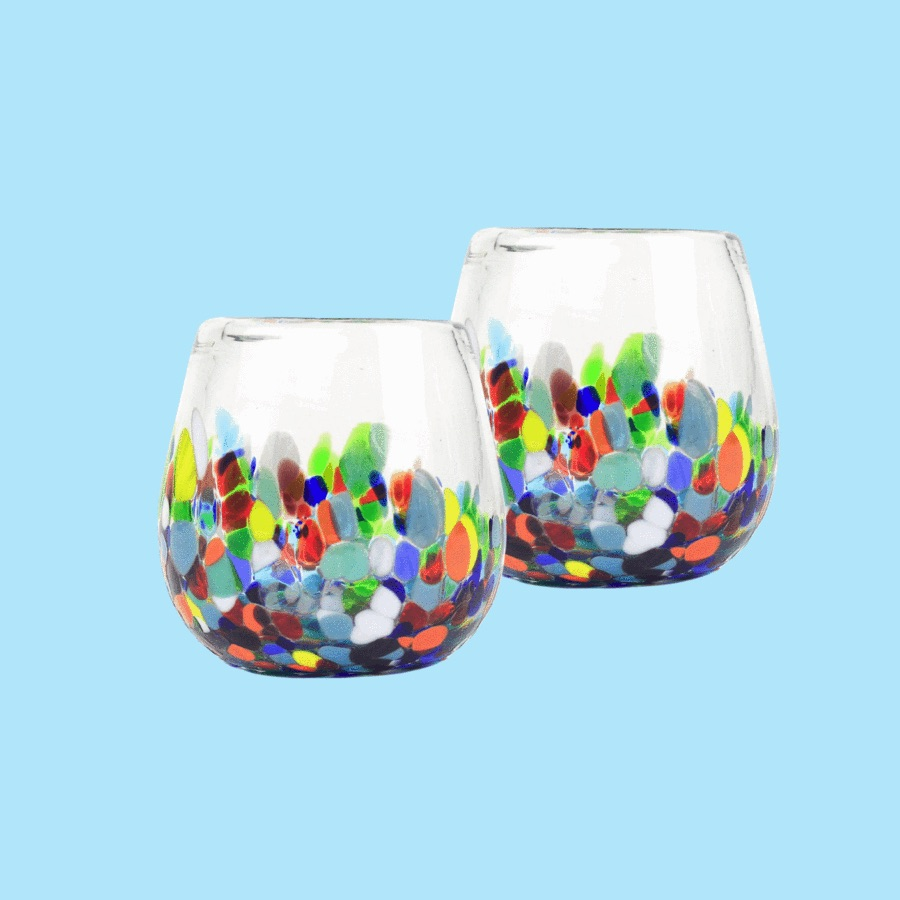 Stemless Handblown Wine Glass - Colorful $15 https://shop.globein.com/collections/glassware-1/products/stemless-wine-glass