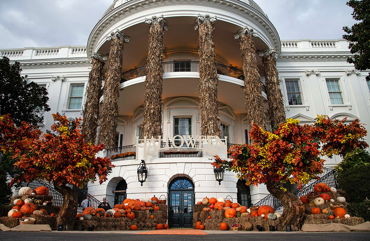 The White House is decorated for Halloween in Washington, DC, on October 28, 2018.