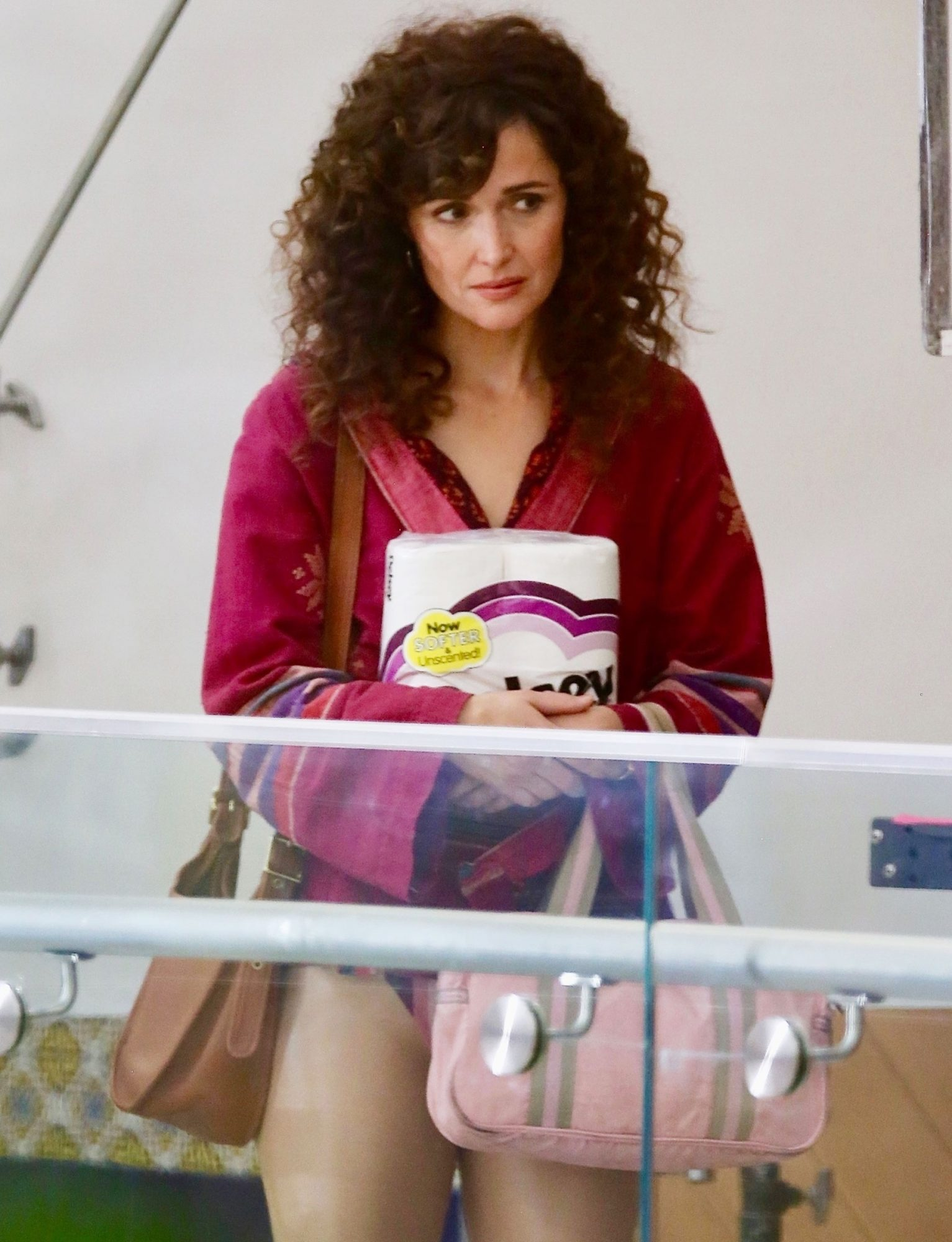 Rose Byrne films scenes for 'Physical' at a LA strip mall
