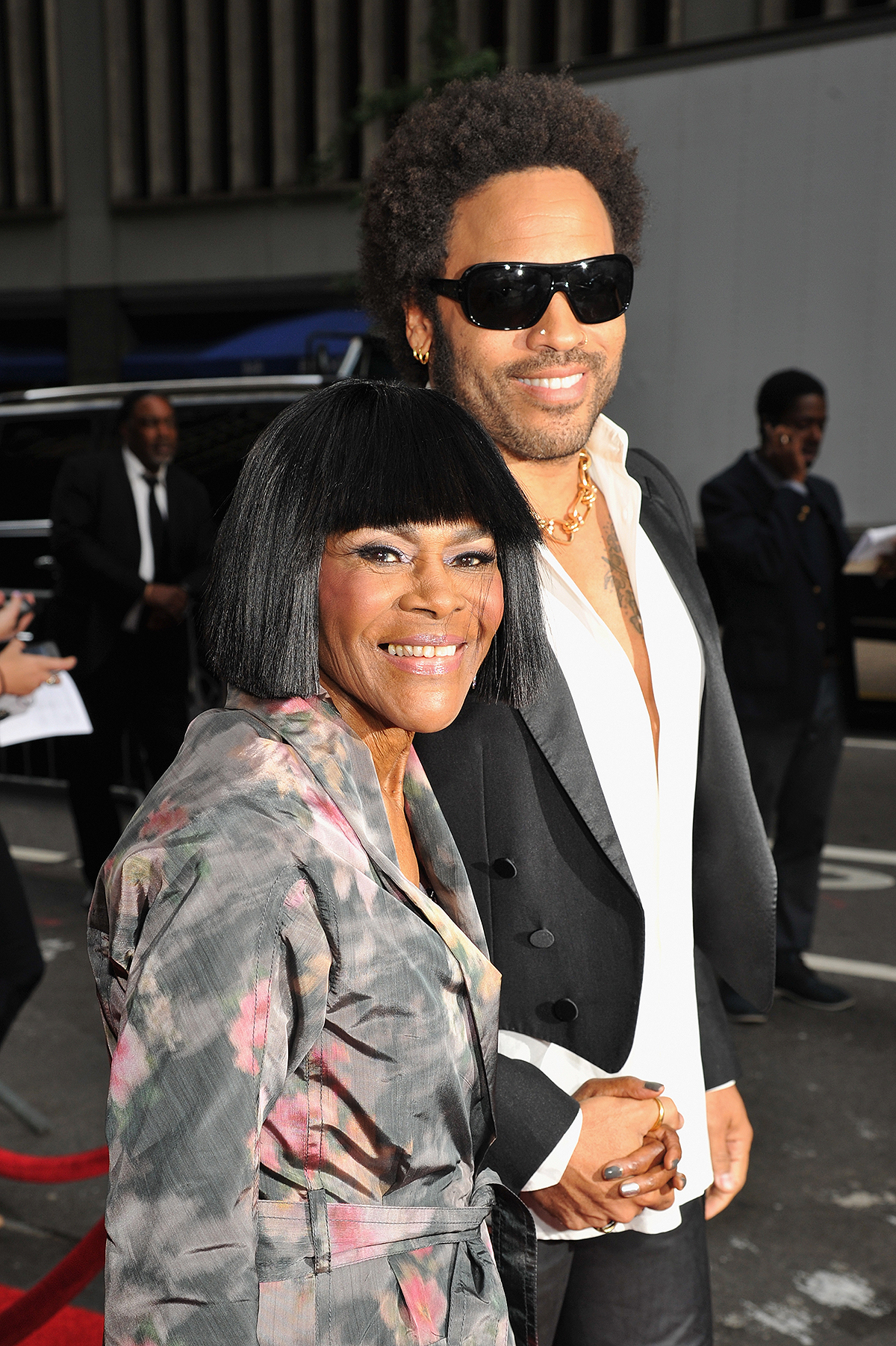 Cicely Tyson (L) and musician Lenny Kravitz