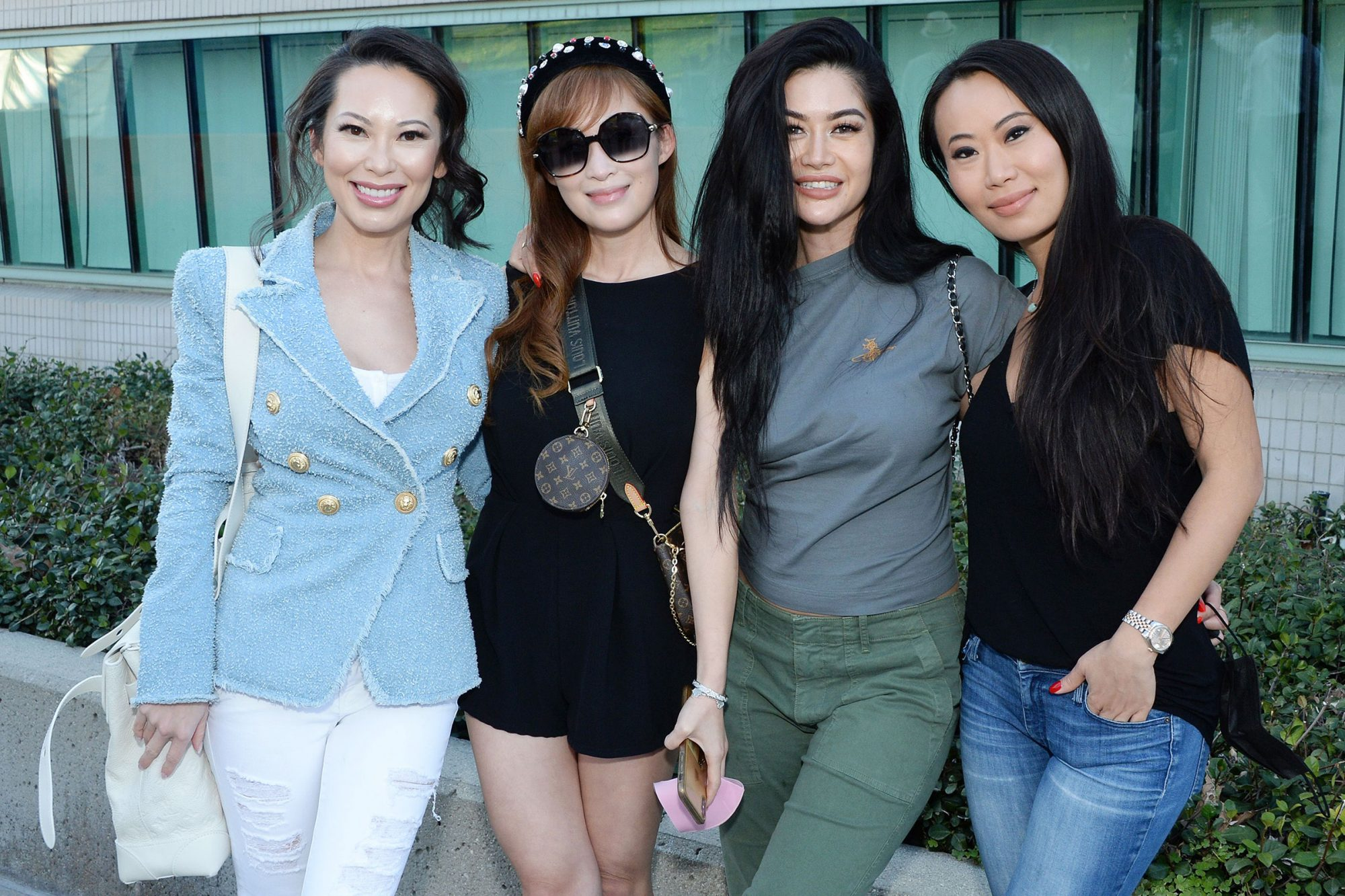Christine Chiu, Cherie Chan, Kim Lee and Kelly Mi Li Netflix's Bling Empire donates to frontline medical workers, Baldwin Park, California