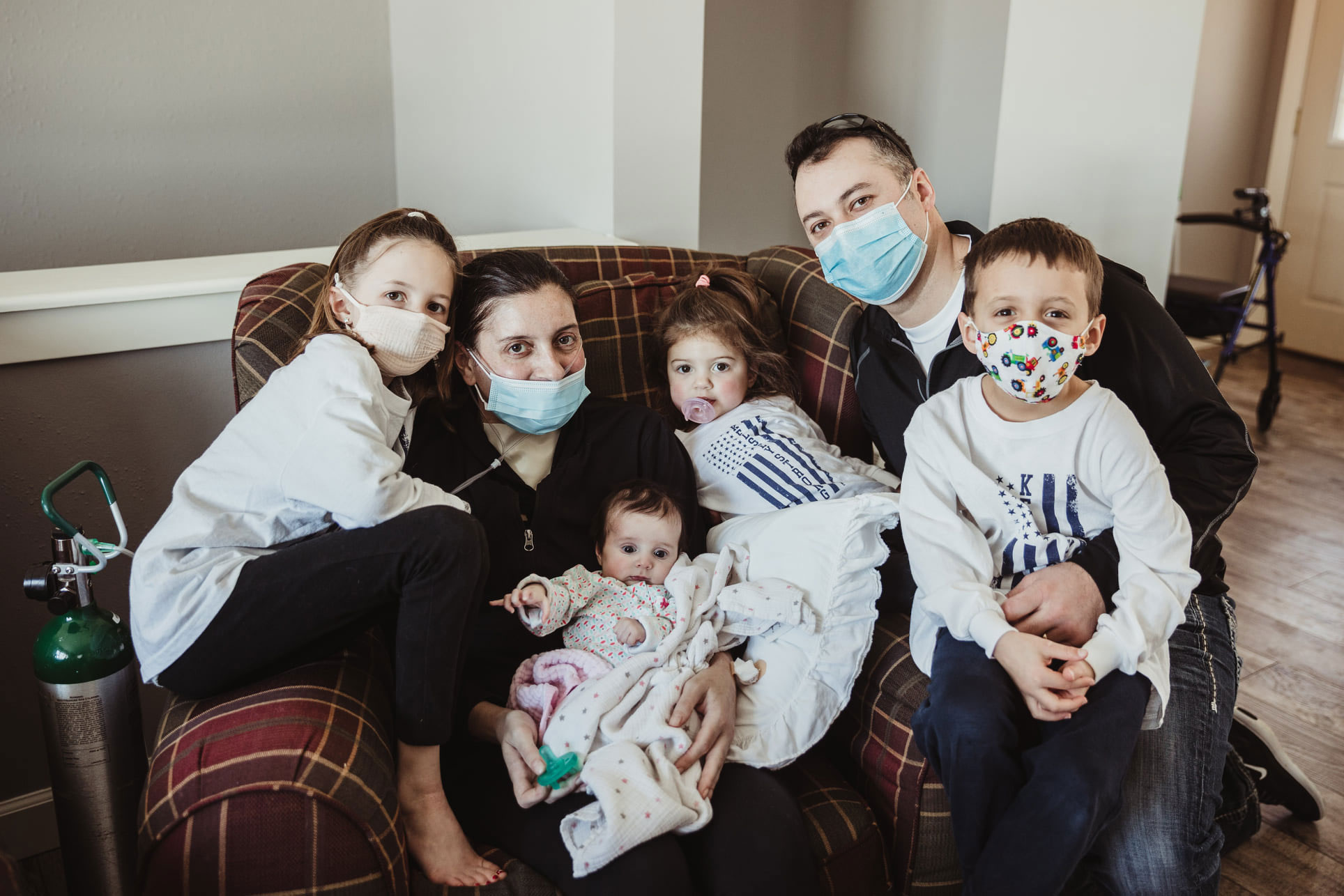 Kelsey Townsend, 32, was recently discharged from a hospital in Madison, Wisc., and reunited with her husband and four children, including her baby girl Lucy.