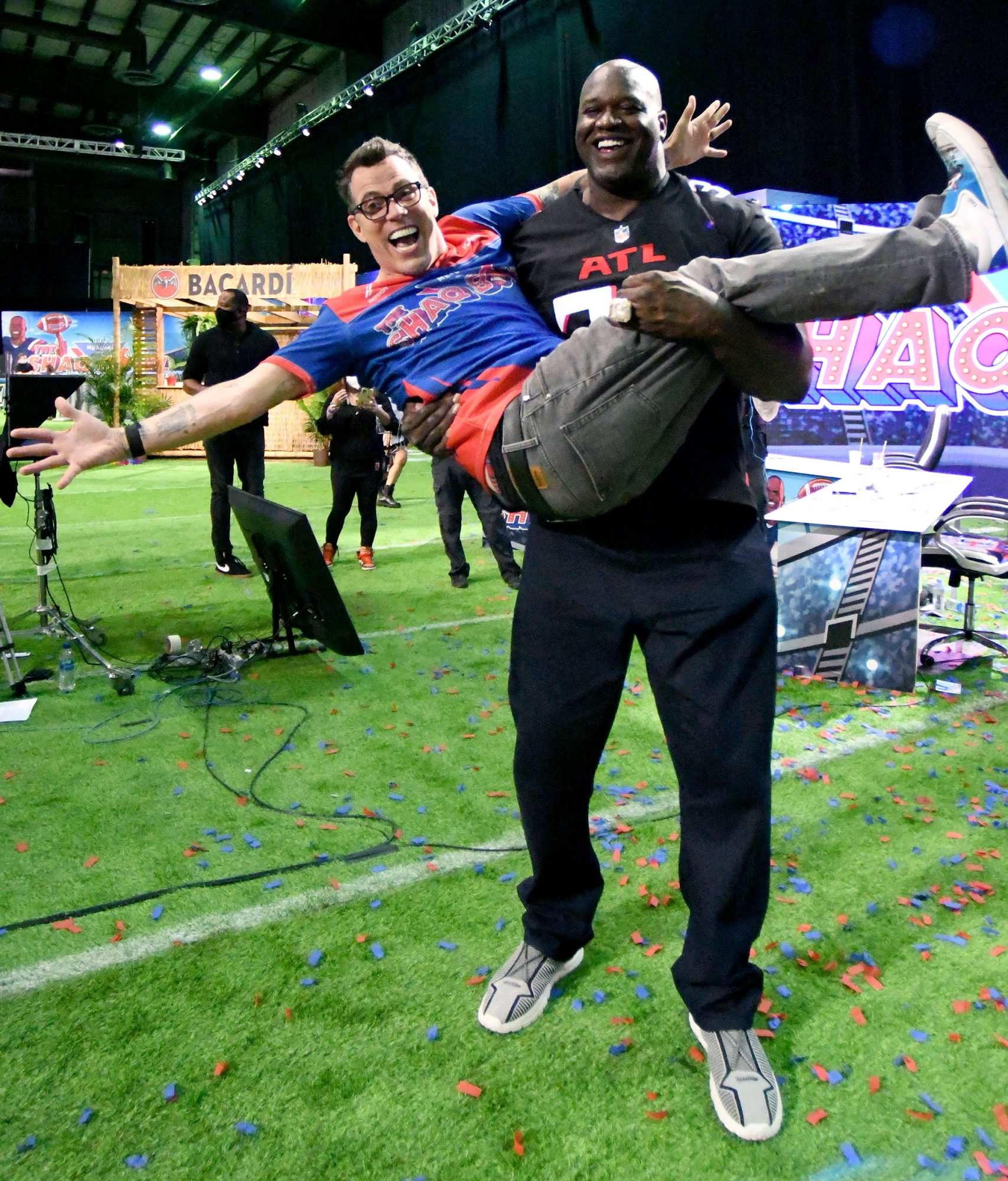 Steve-O and Shaquille O'Neal attend The SHAQ Bowl for Super Bowl LV on February 07, 2021 in Tampa, Florida