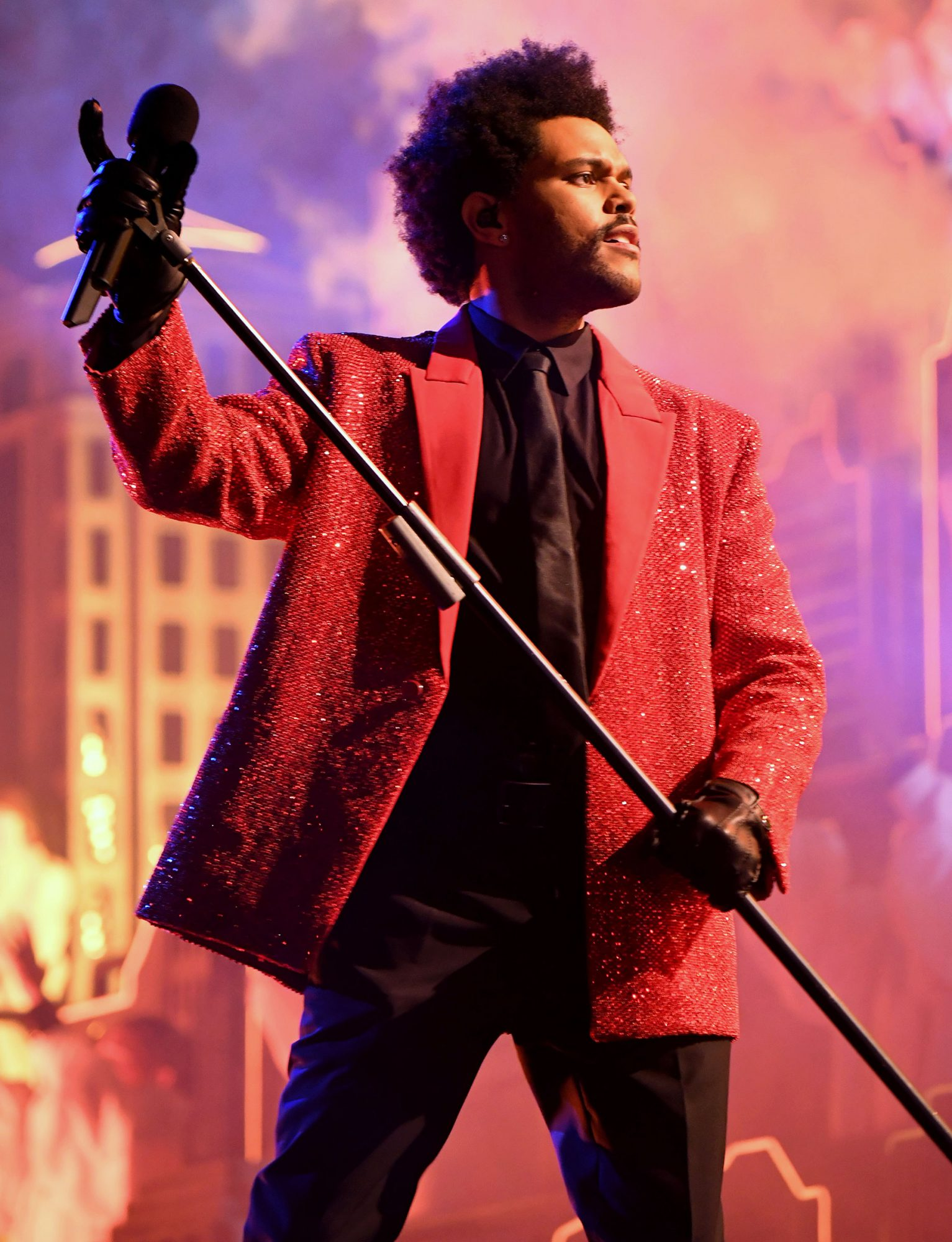 The Weeknd performs for the Super Bowl LV Halftime Show at Raymond James Stadium