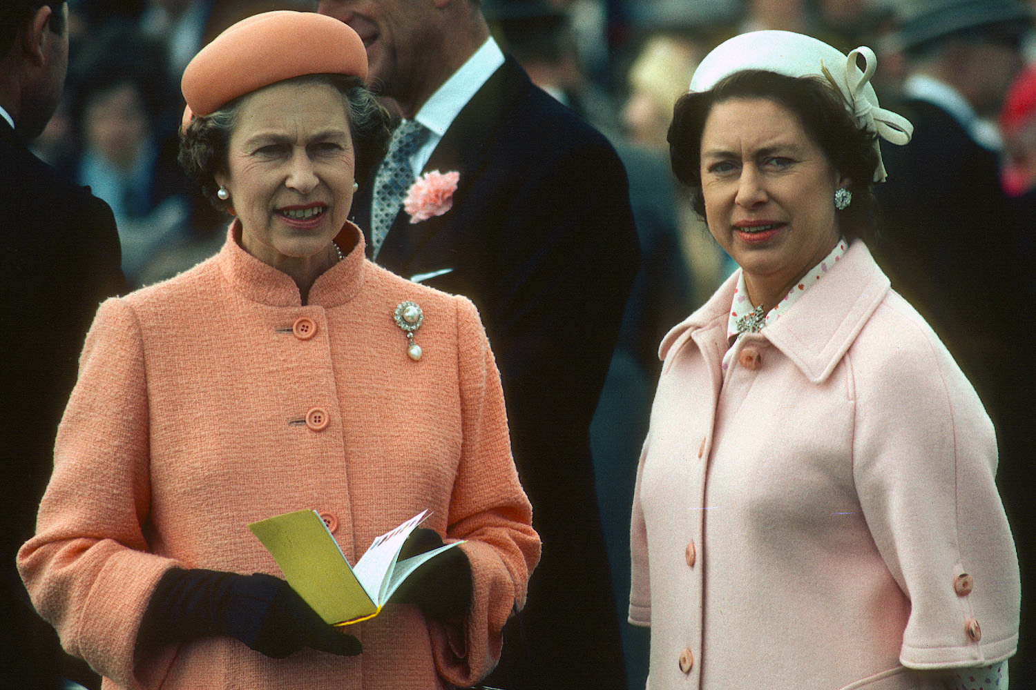 Queen Elizabeth ll and her sister Princess Margaret attend the Epsom Derby