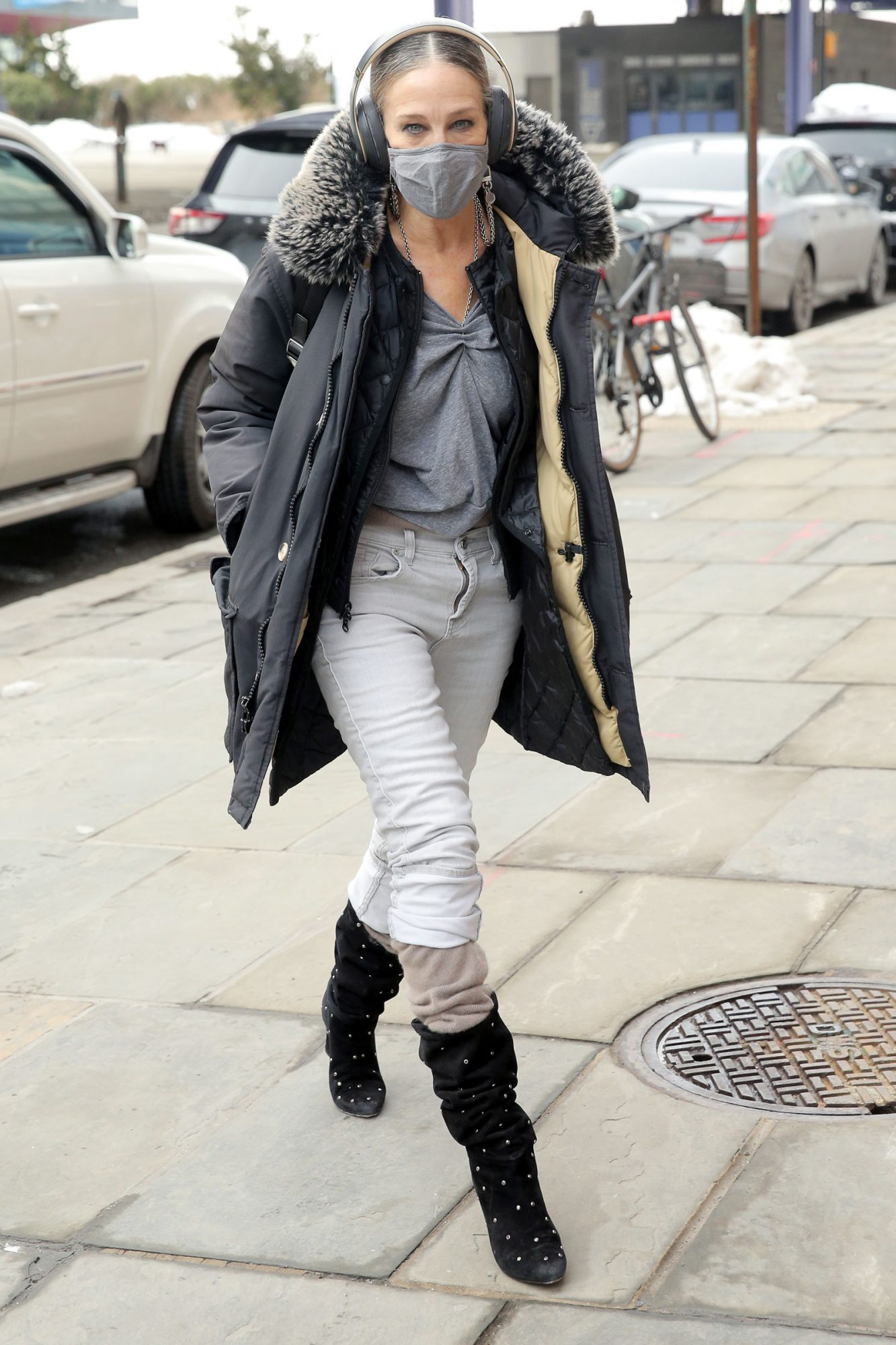 Actress Sarah Jessica Parker arrives at her SJP Collection shoe store in Seaport District in New York City