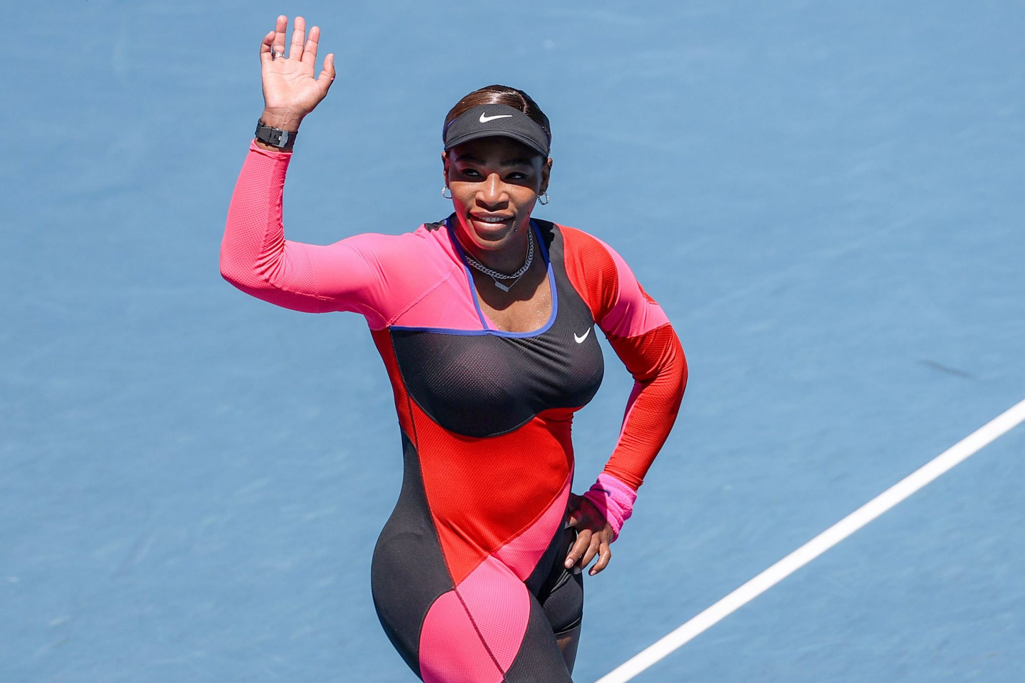 Serena Williams of the United States celebrates after the women's singles second round match between Nina Stojanovic of Serbia and Serena Williams of the United States at Australian Open in Melbourne Park