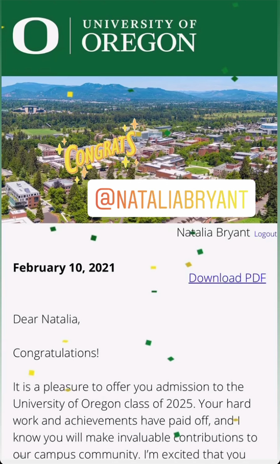 Vanessa Bryant Announces Daughter Natalia Has Been Accepted Into University of Oregon