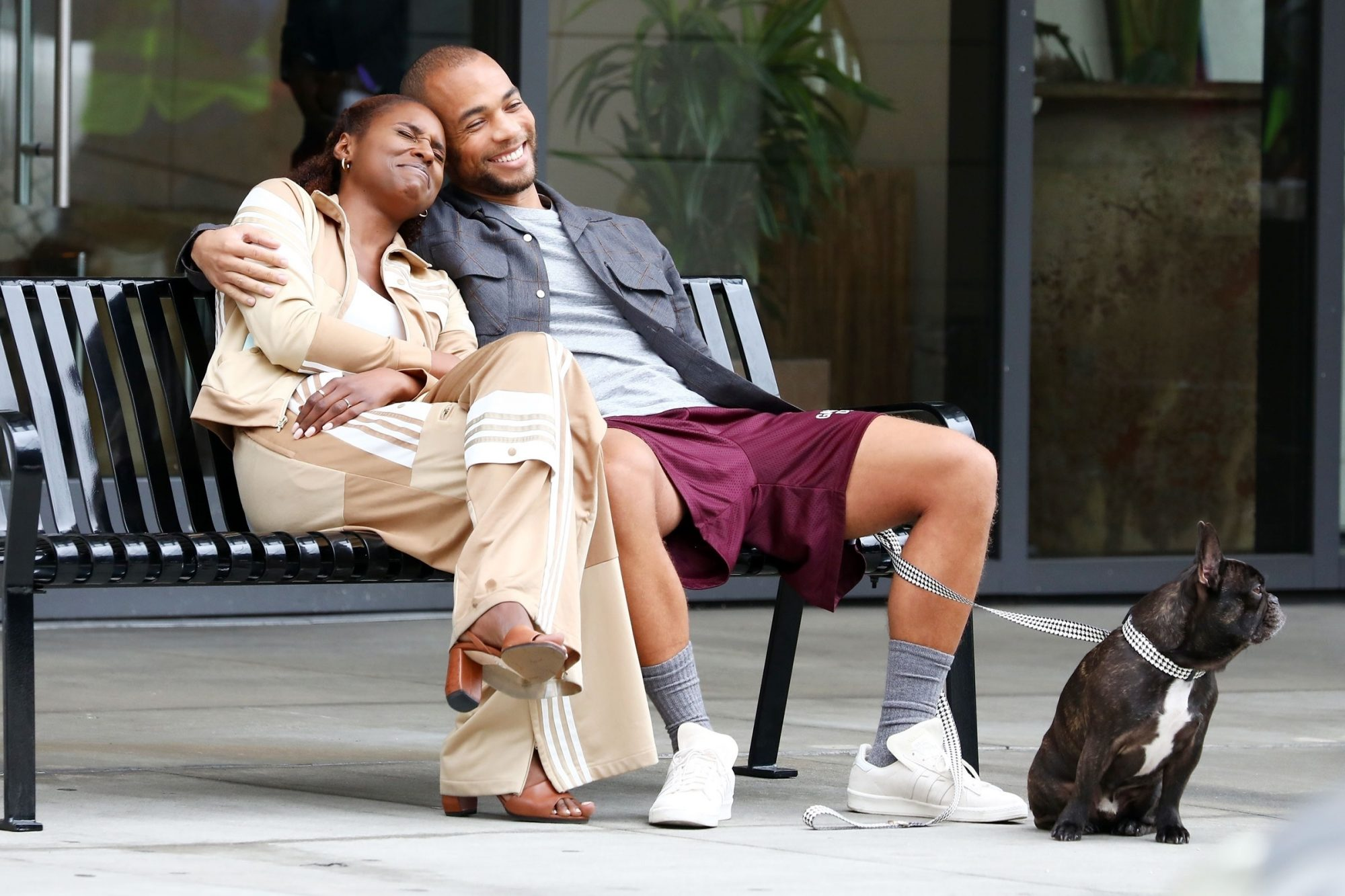 Issa Rae and Kendrick Sampson get cozy filming a scene for 'Insecure'