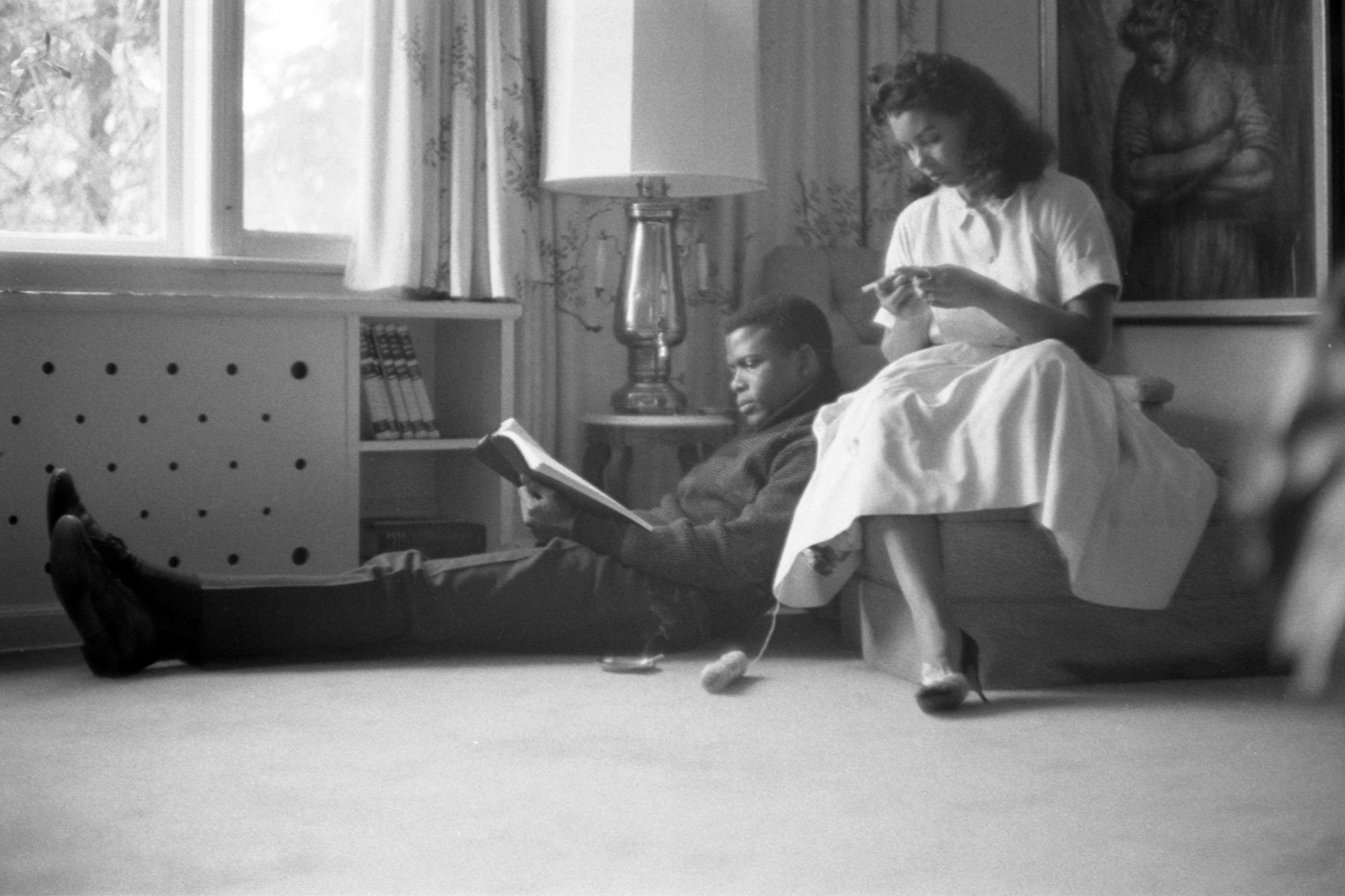 Sidney Poitier and his wife, Juanita Hardy, as they relax at home together, New York, New York
