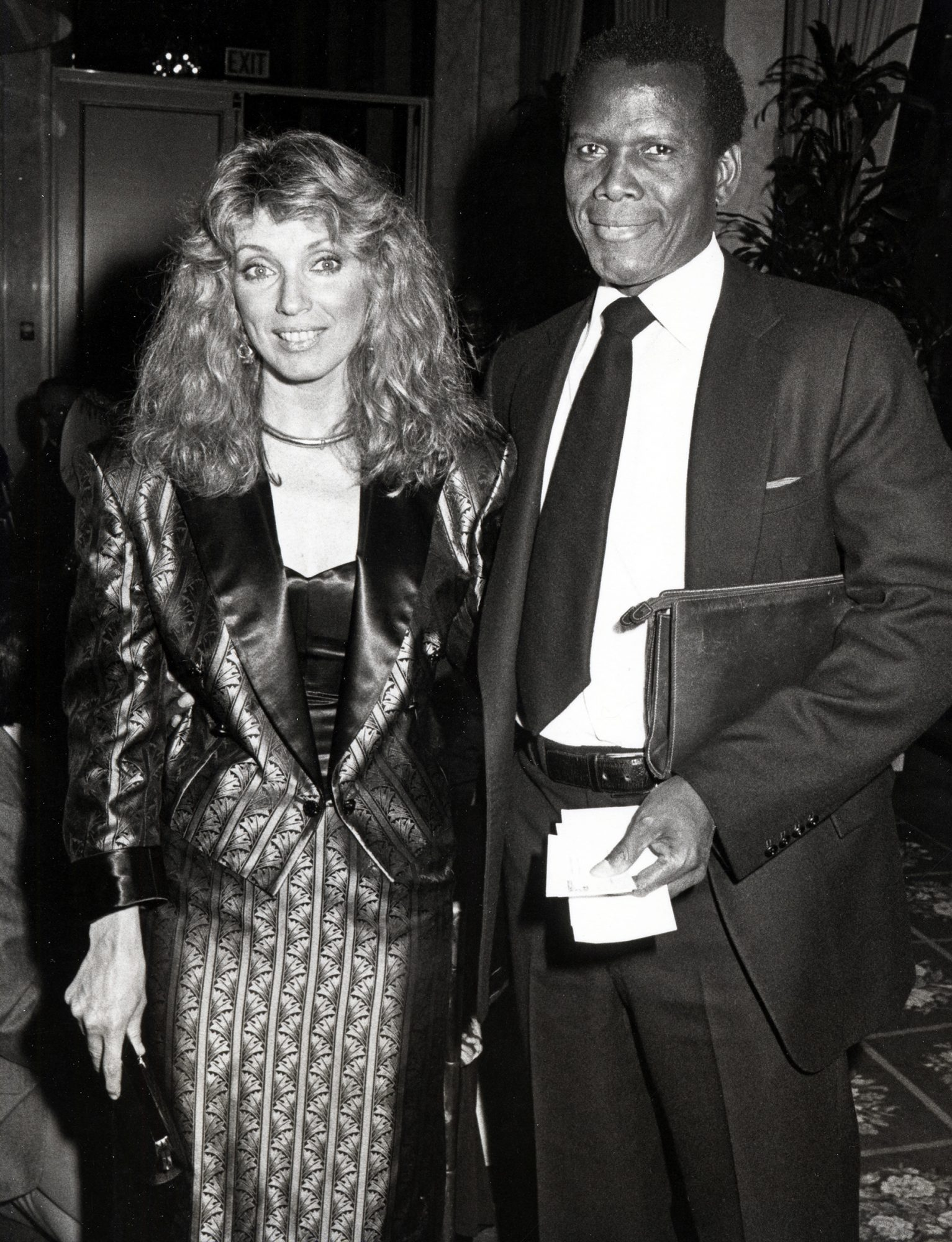 Joanna Shimkus and Sidney Poitier during Neighborhood of Watts Benefit Dinner at Beverly Wilshire Hotel in Beverly Hills, California