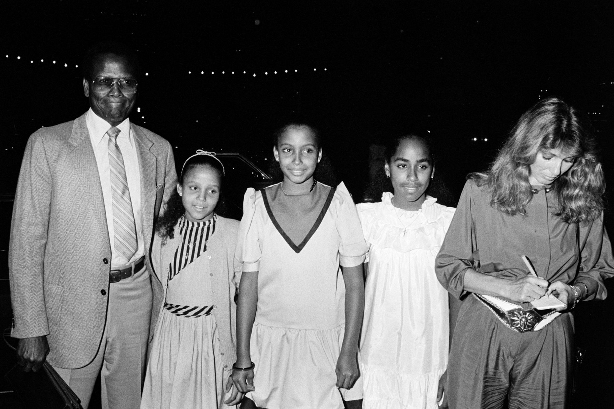 Sidney Poitier and His Three Daughters, Sydney Tamiia, Anika, and (either Gina, Pamela or Beverly)
