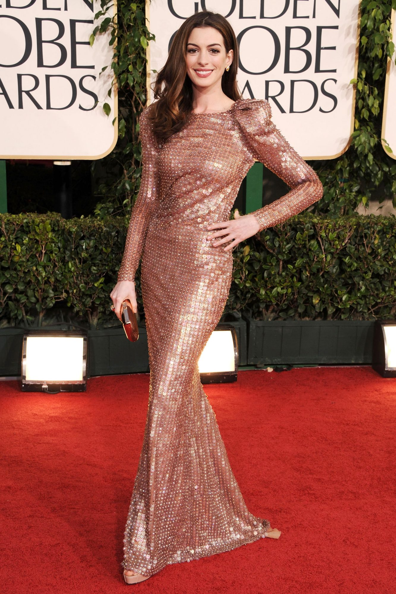 Anne Hathaway arrives at the 68th Annual Golden Globe Awards held at The Beverly Hilton hotel
