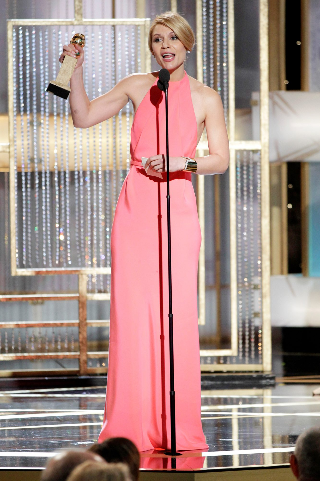 Claire Danes on stage during the 68th Annual Golden Globe Awards