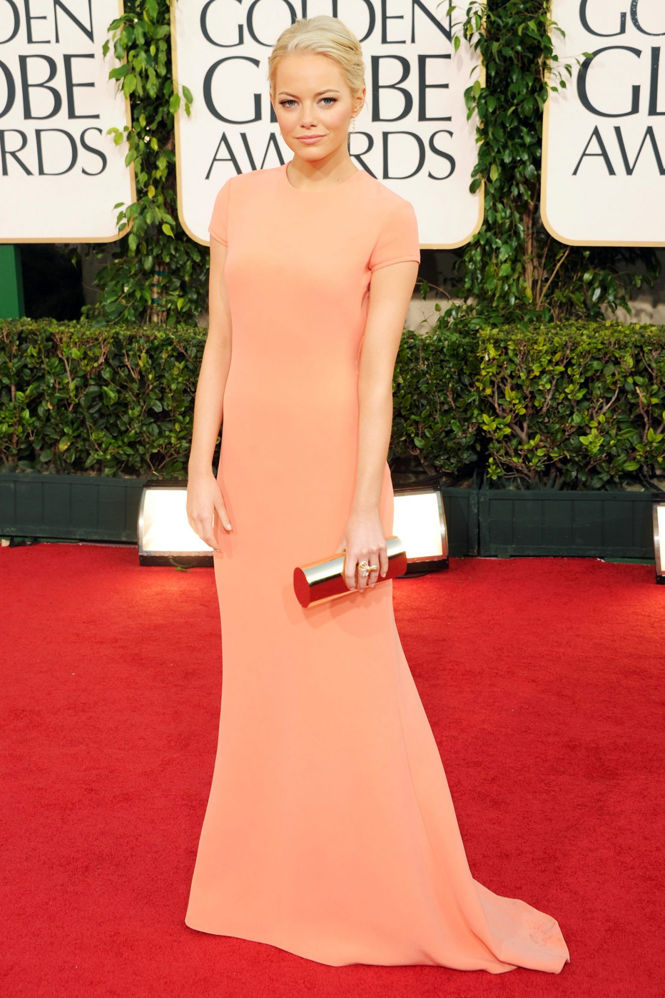 Emma Stone arrives at the 68th Annual Golden Globe Awards held at The Beverly Hilton hotel on January 16, 2011