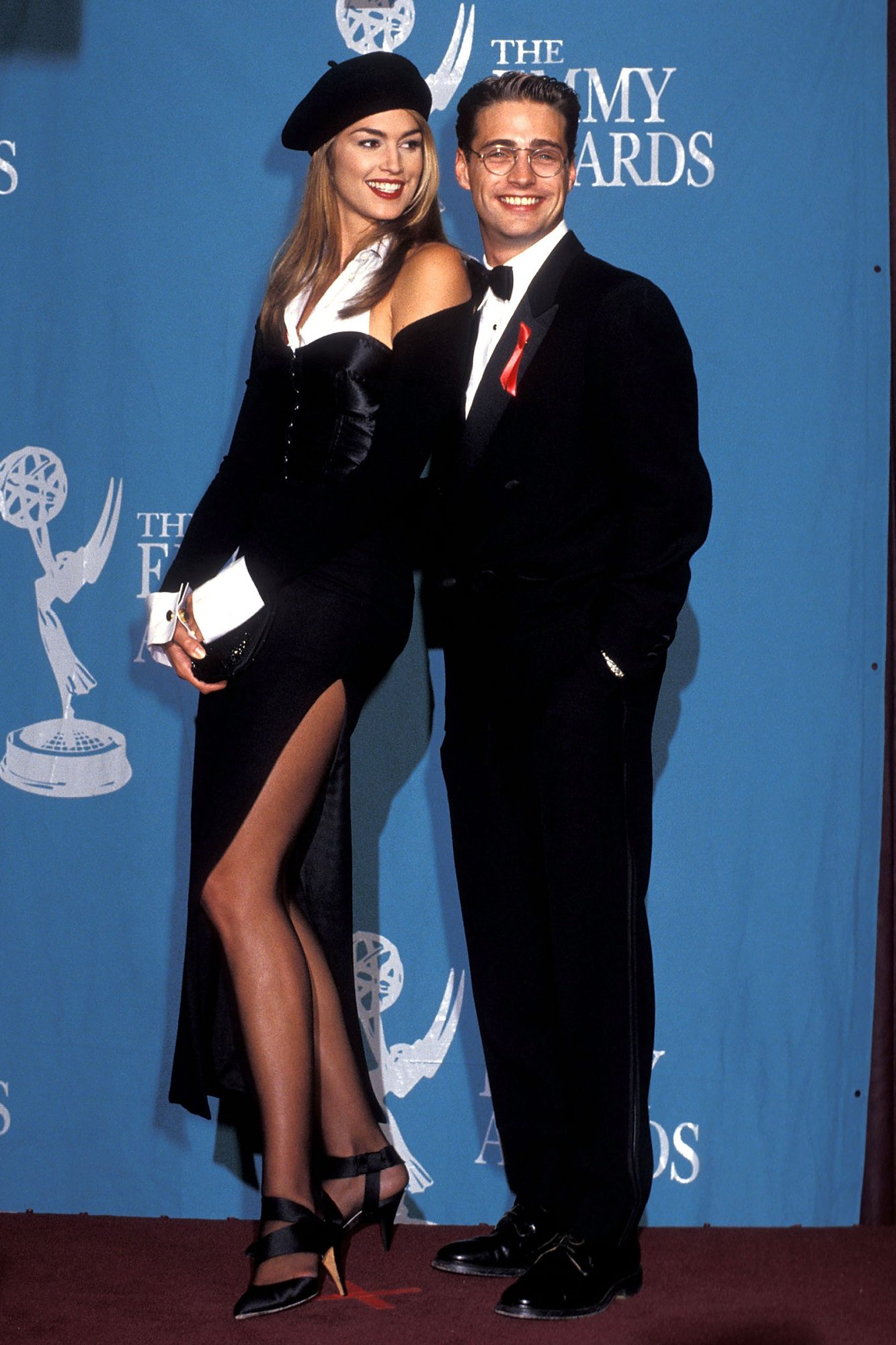 Cindy Crawford and actor Jason Priestley attend the 44th Annual Primetime Emmy Awards on August 30, 1992 at Pasadena Civic Auditorium in Pasadena