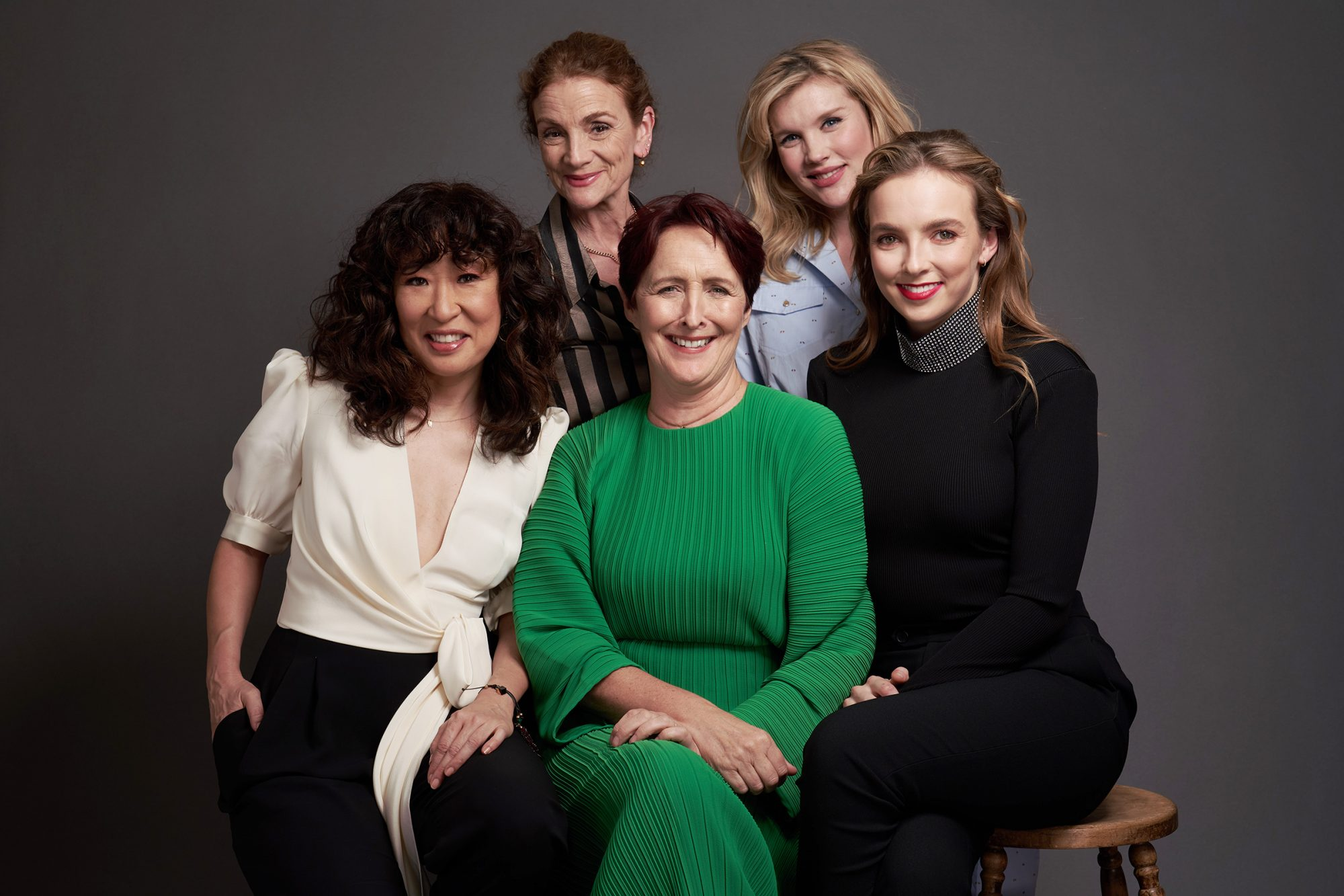 "Sally Woodward Gentle, Emerald Fennell, (front row L-R) Sandra Oh, Fiona Shaw, and Jodie Comer of AMC's ""Killing Eve"" pose for a portrait during the 2019 Winter TCA"