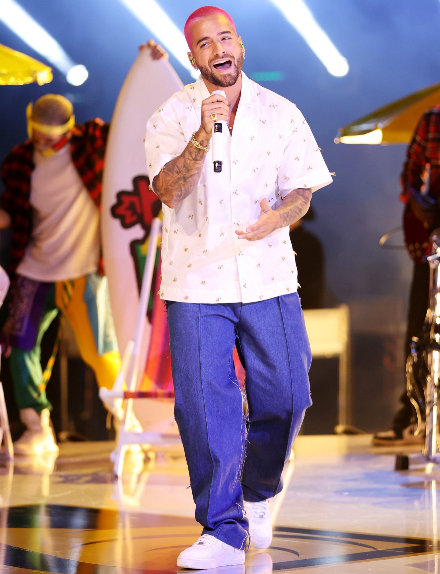Maluma performs onstage during Univision's 33rd Edition of Premio Lo Nuestro a la Música Latina at AmericanAirlines Arena on February 18, 2021 in Miami, Florida