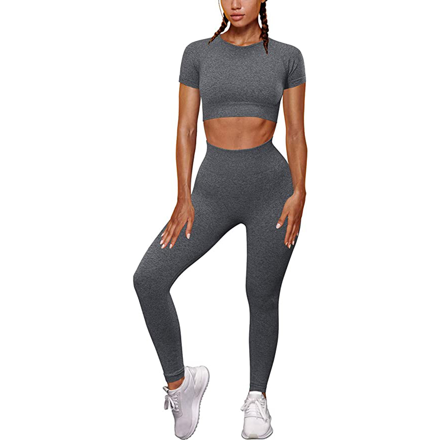 OYS Womens Yoga 2 Pieces Workout Outfits Seamless High Waist Leggings Sports Crop Top