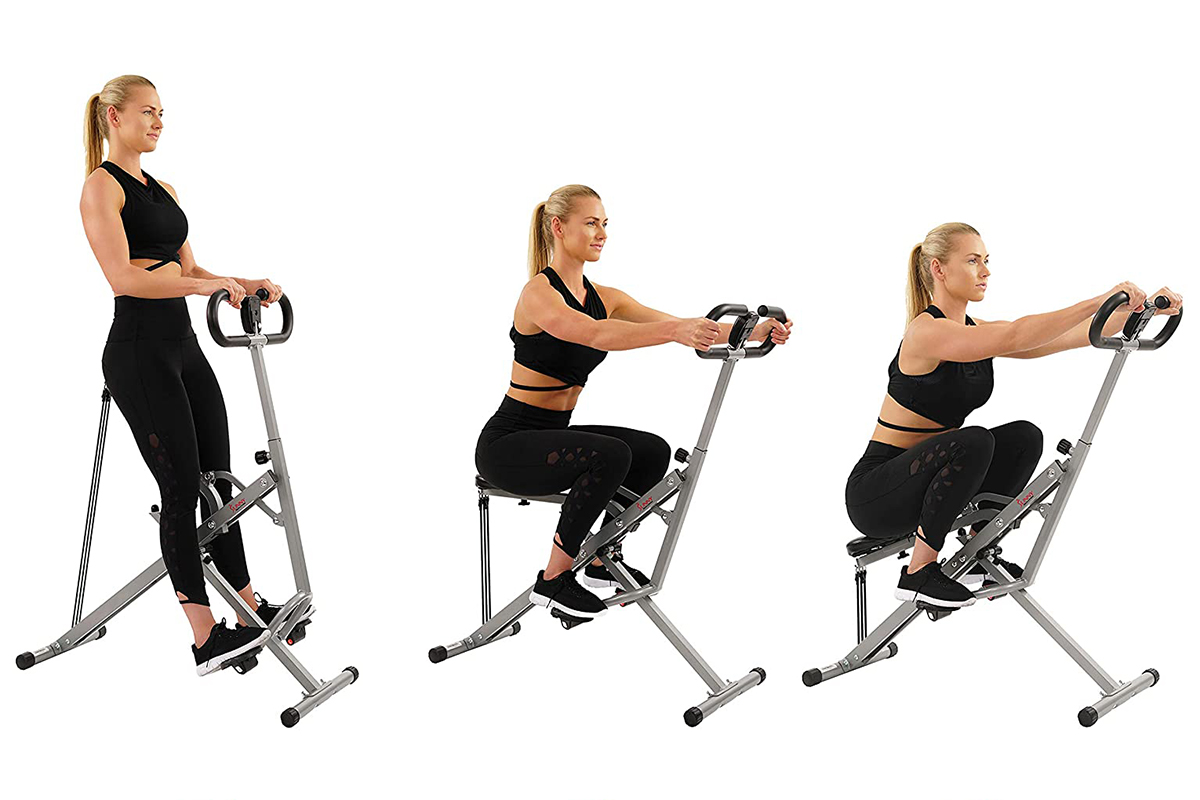 Sunny Health & Fitness Squat Assist Row-N-Ride Trainer for Glutes