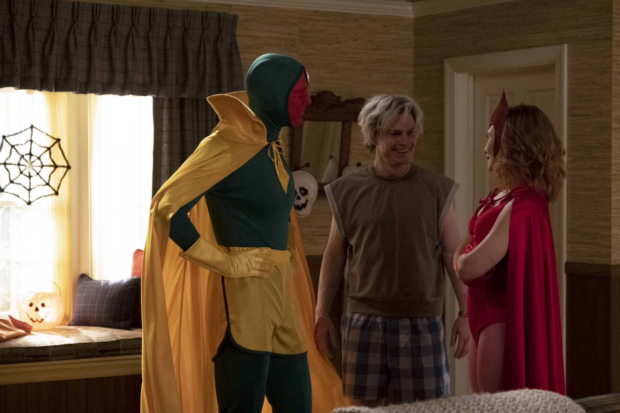 (L-R): Paul Bettany as Vision, Evan Peters as Pietro and Elizabeth Olsen as Wanda Maximoff in Marvel Studios' WANDAVISION