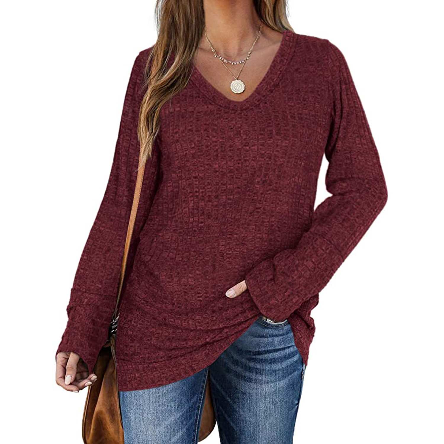 WIHOLL Sweaters for Women Long Sleeve V Neck