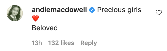 Andie MacDowell comment on Margaret Qualley Post