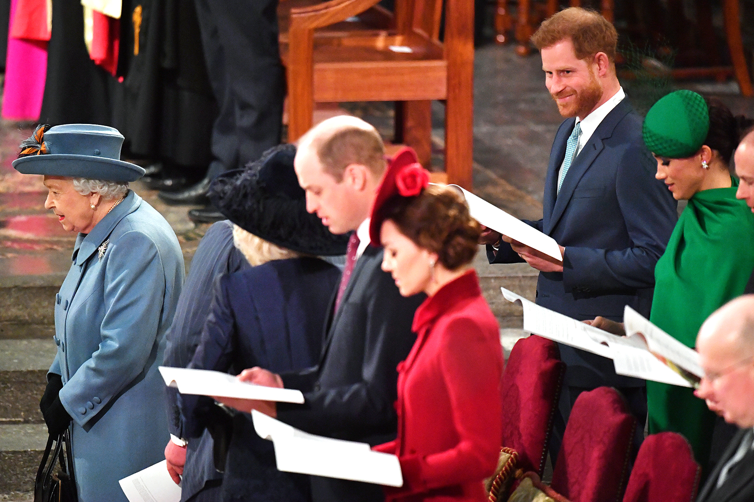 Queen Elizabeth II, Prince William, Duke of Cambridge, Catherine, Duchess of Cambridge, Prince Harry, Duke of Sussex, Meghan, Duchess of Sussex, Prince Edward, Earl of Wessex and Sophie, Countess of Wessex