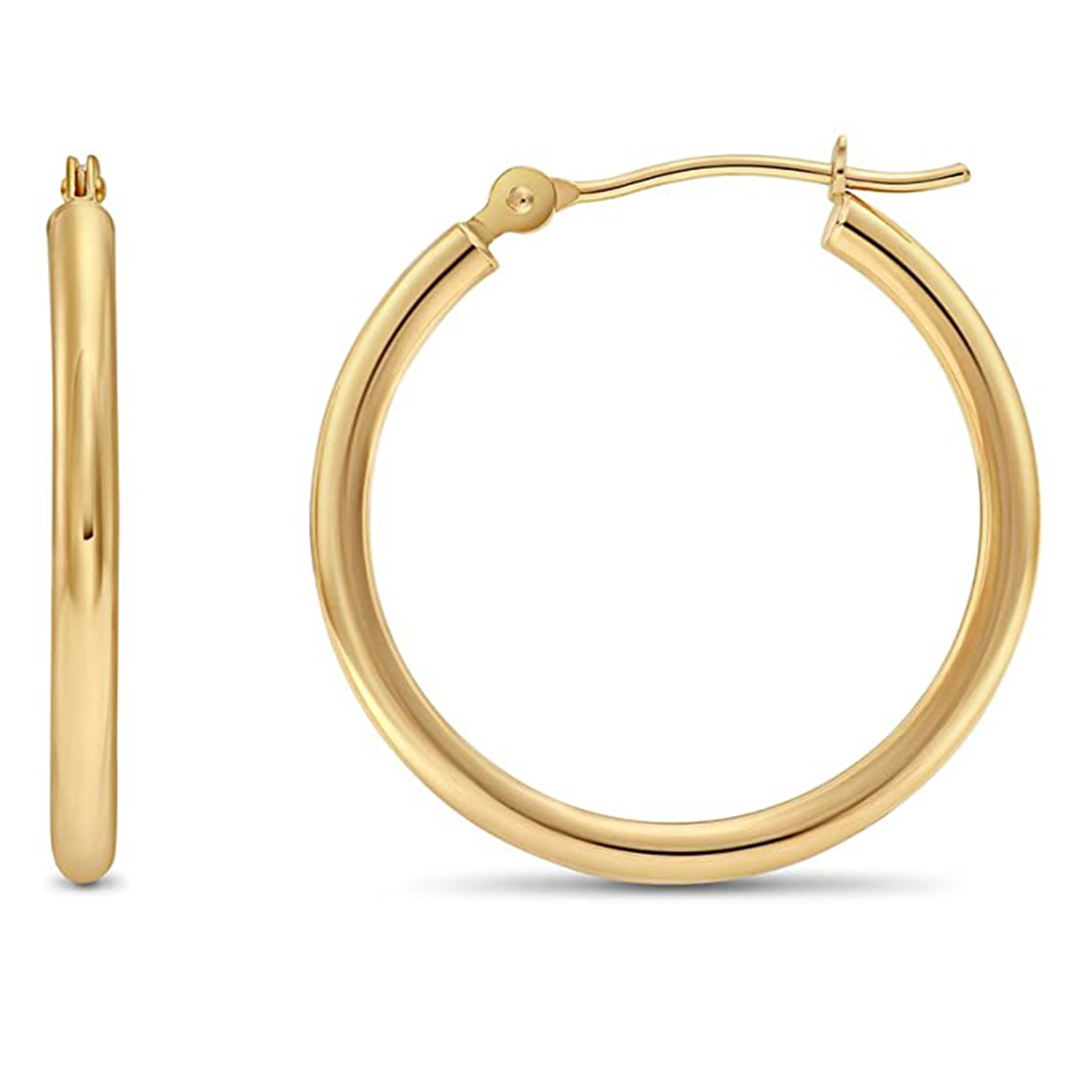 14k yellow gold classic shiny polished round hoop earrings 22mm