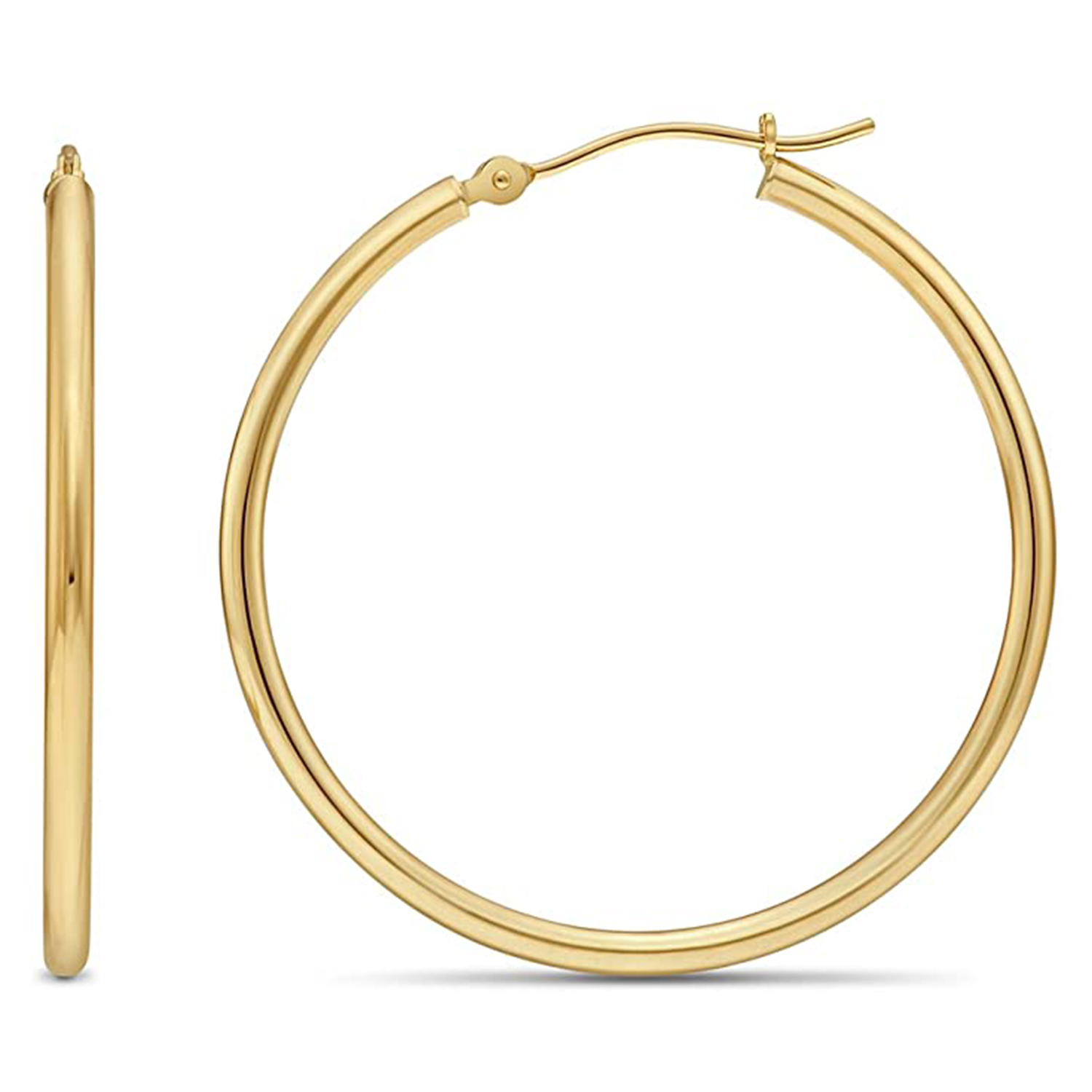 14k Yellow Gold Classic Shiny Polished Round Hoop Earrings