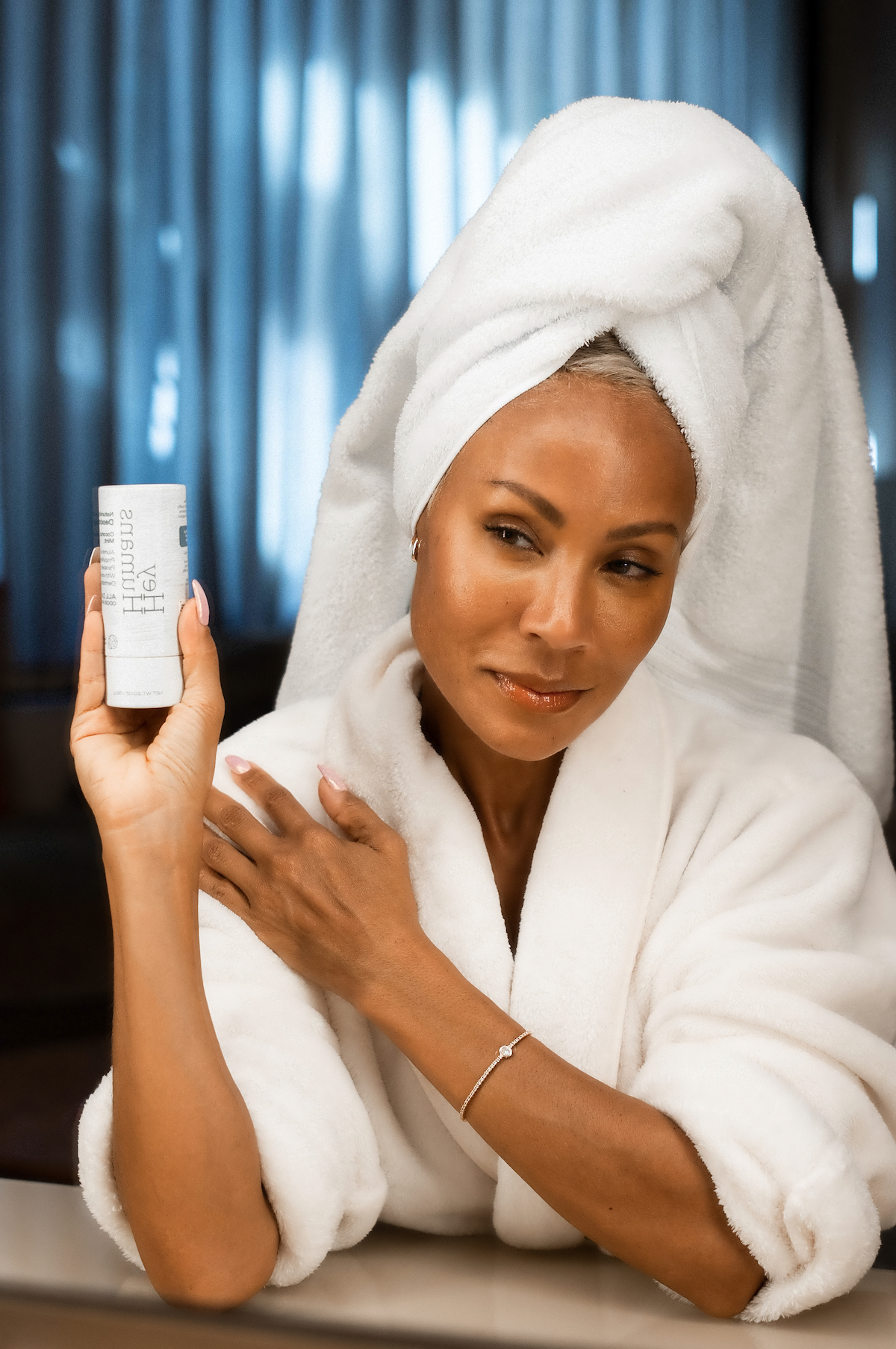 Jada Pinkett Smith co-founder of Hey Humans poses with the new personal care products available at Target and Target.com