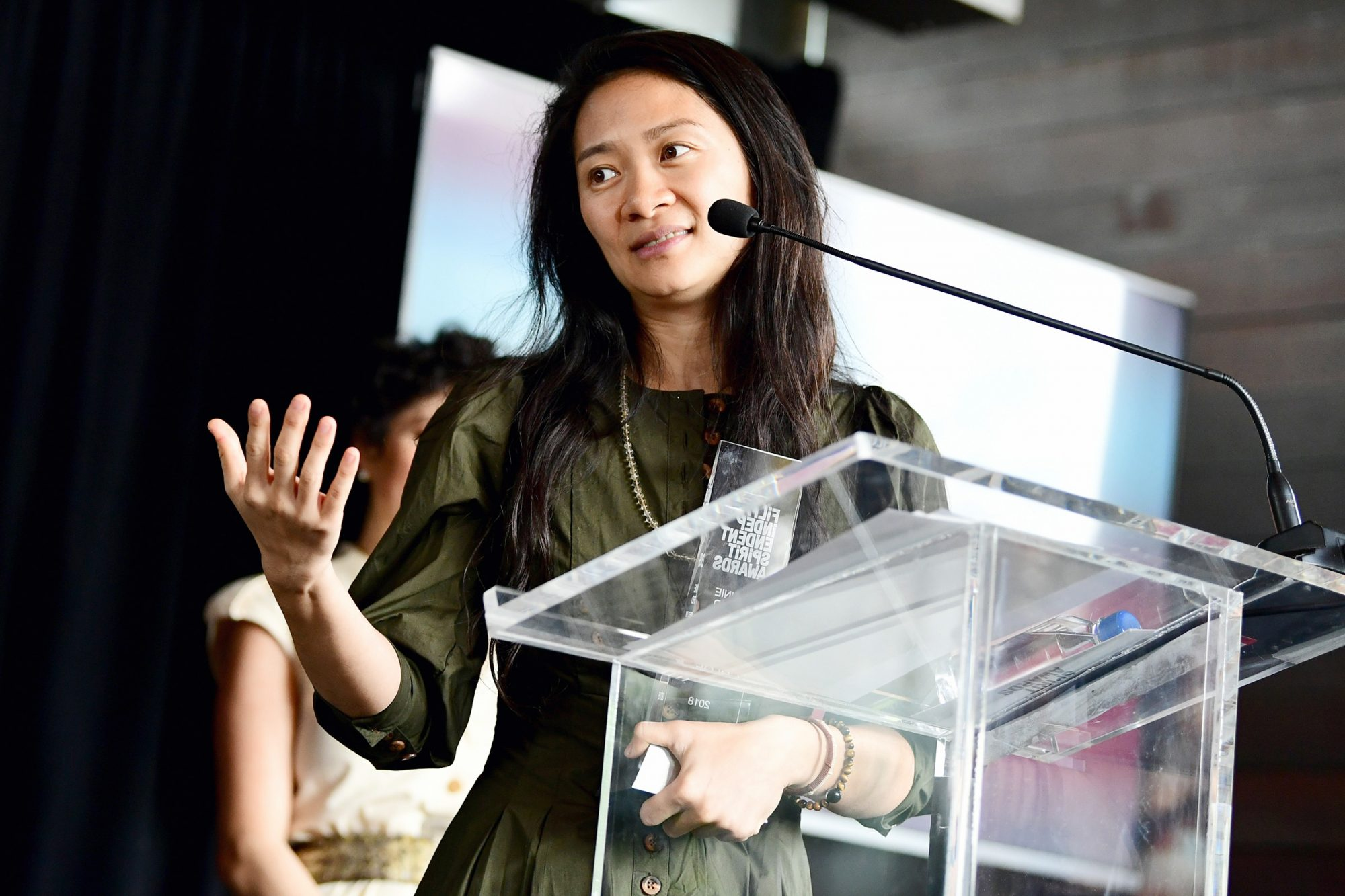 Chloe Zhao, winner of the Bonnie Award speaks onstage at the Film Independent Spirit Awards Nominee Brunch at BOA Steakhouse on January 6, 2018 in West Hollywood, California