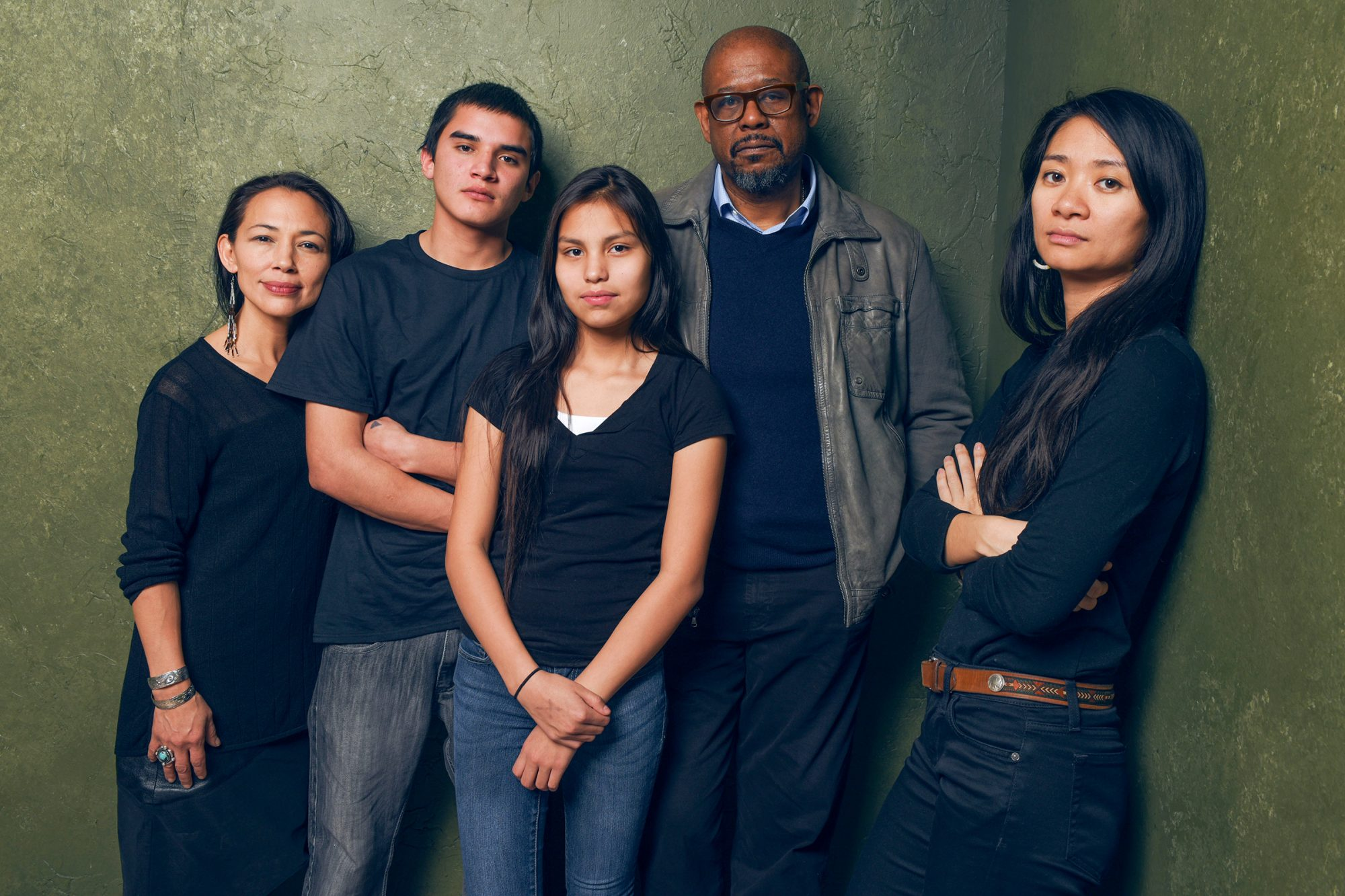 """Actress Irene Bedard, actor John Reddy, actress Jashaun St. John, producer Forest Whitaker and writer/director Chloe Zhao of """"Songs My Brothers Taught Me"""" pose for a portrait at the Village at the Lift"""