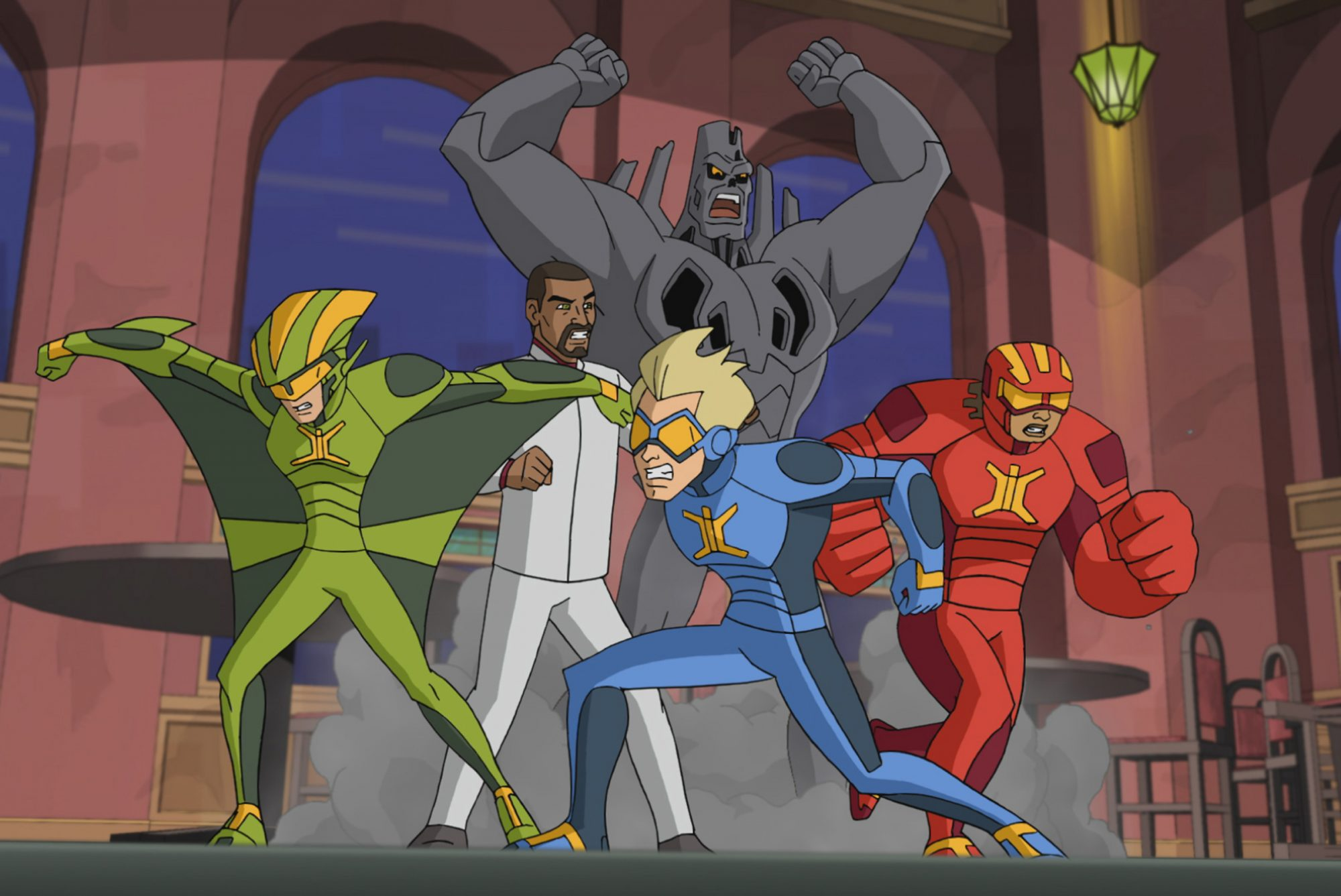 STRETCH ARMSTRONG AND THE FLEX FIGHTERS, front, from left: Wingspan (voiced by Steven Yeun), Stretch Armstrong (voiced by Scott Menville), Omni-Mass (voiced by Ogie Banks),(Season 1, airs Nov. 17, 2017)