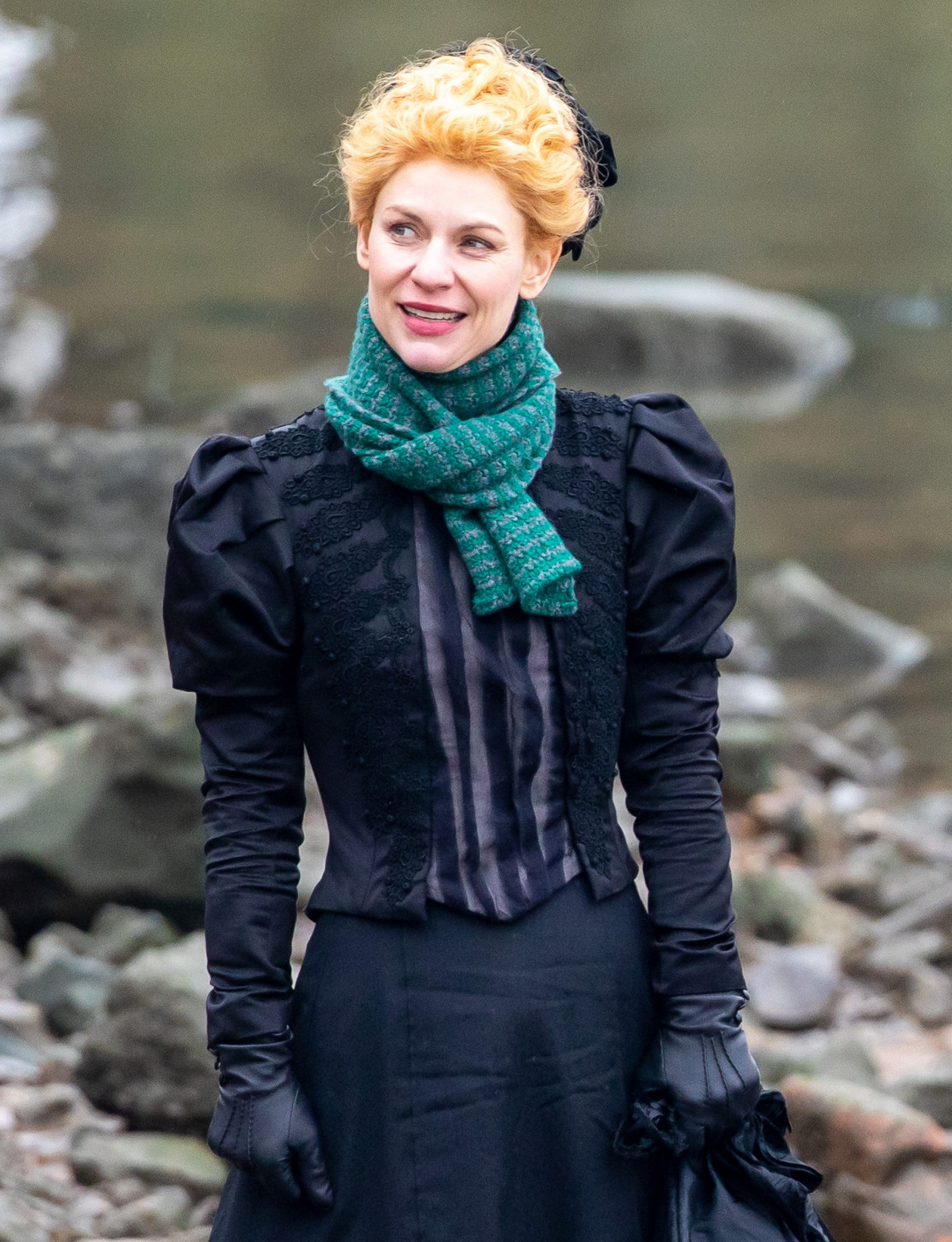 Claire Danes Filming 'The Essex Serpent' On The Bank Of The River Thames