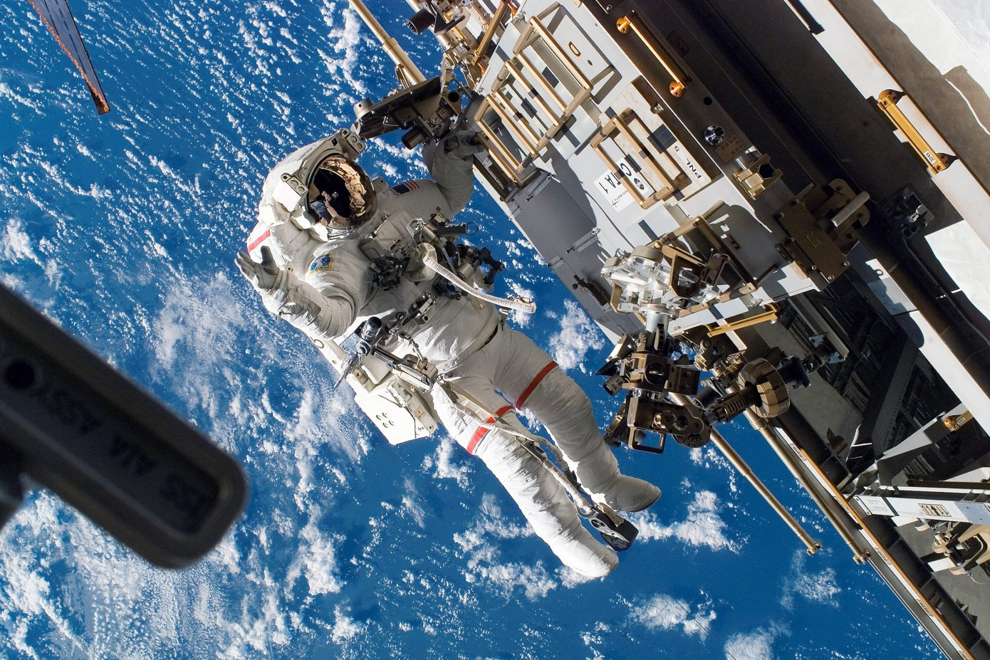In this handout photo provided by NASA, Astronaut Rick Mastracchio, STS-118 mission specialist, participates in the mission's third planned session of extravehicular activity (EVA) as construction and maintenance continue on the International Space Station August 15, 2007 in Space